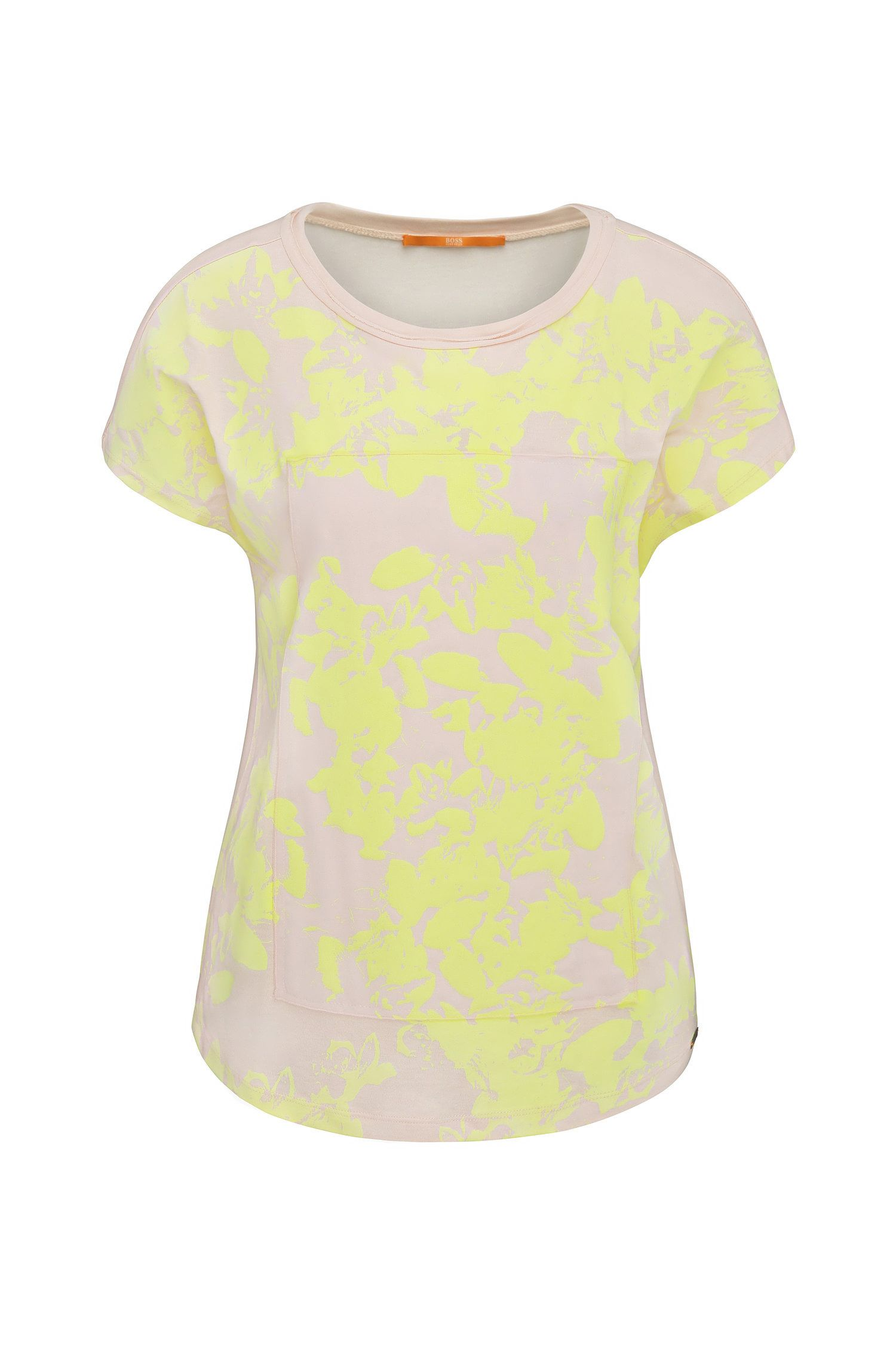 Relaxed-fit T-shirt van viscose met bloesemprint: 'Tawoody'