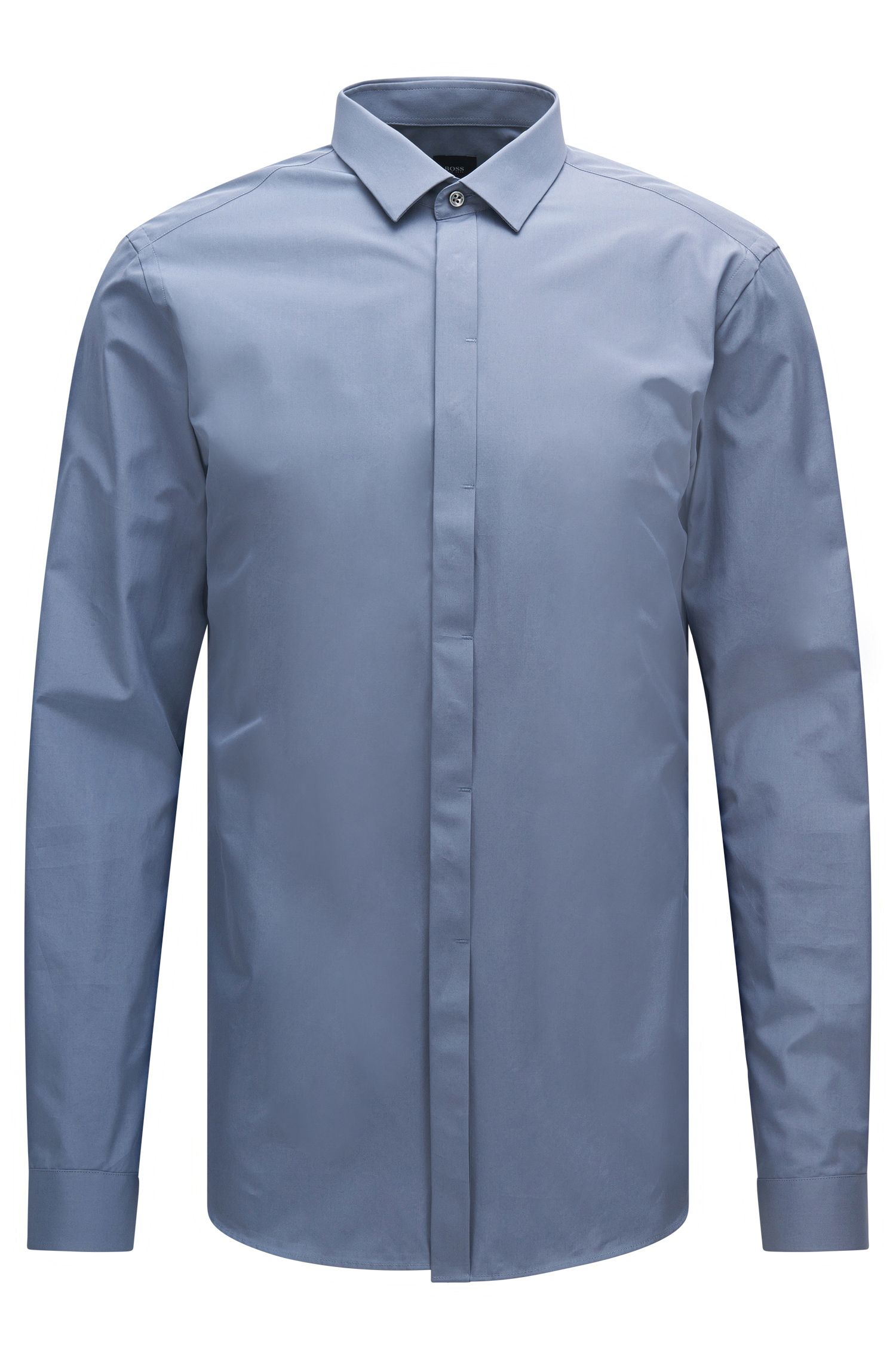 Plain-coloured slim-fit Tailored shirt in cotton: 'T-Craig'