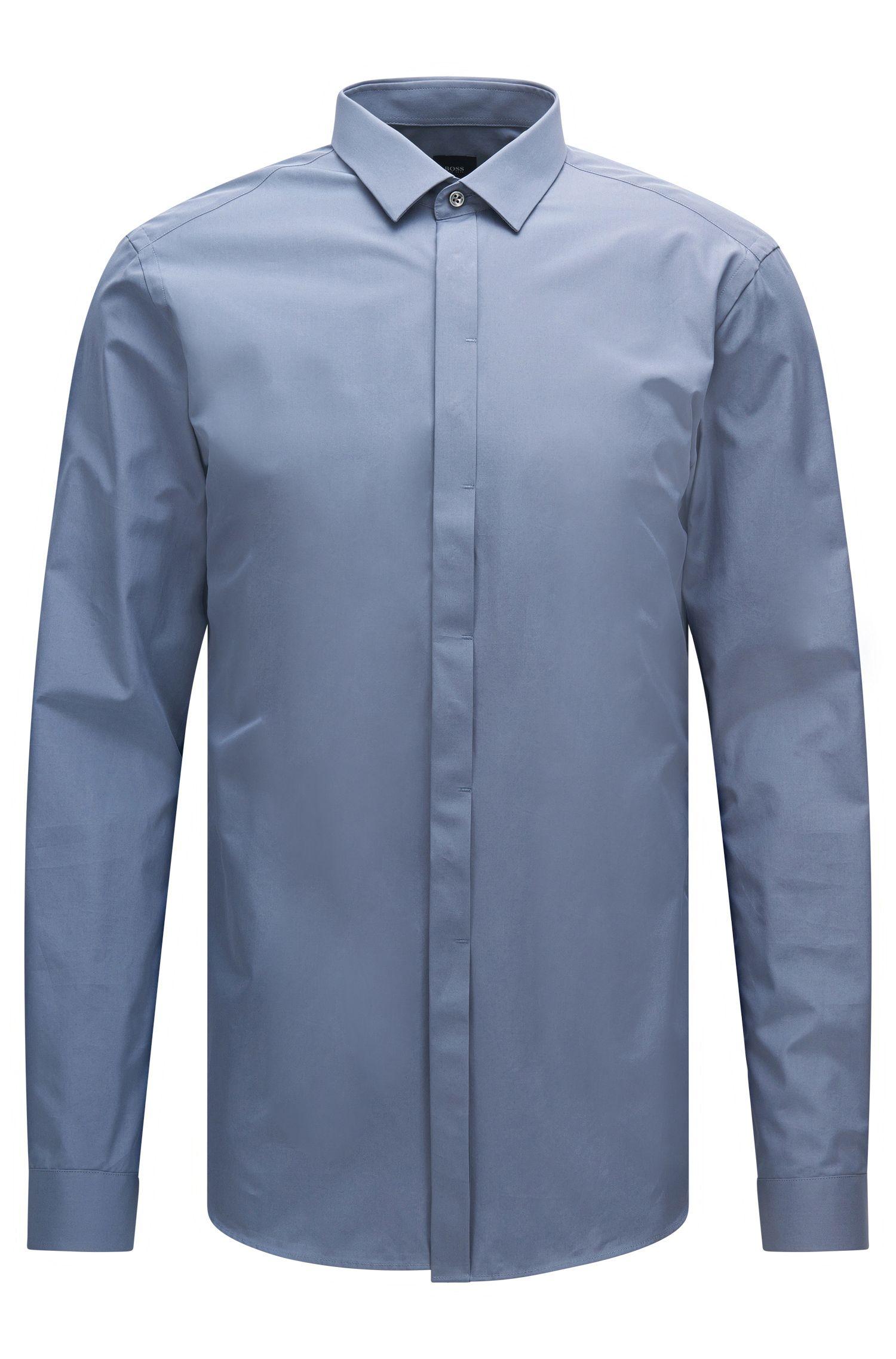Camisa slim fit lisa de sastrería en algodón: 'T-Craig'