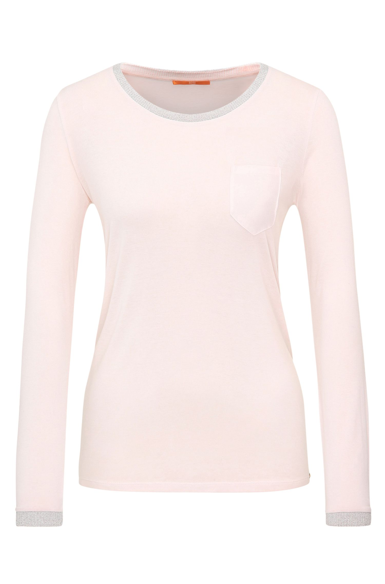 Knitted long-sleeved top in viscose with glittering hems: 'Voksi'