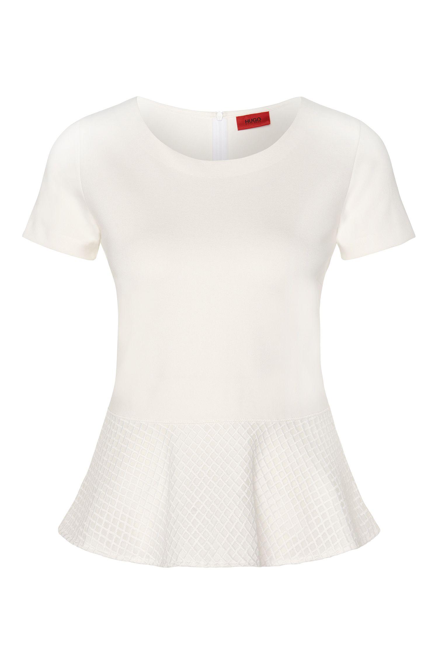T-shirt in viscose blend with peplum detail: 'Dira'