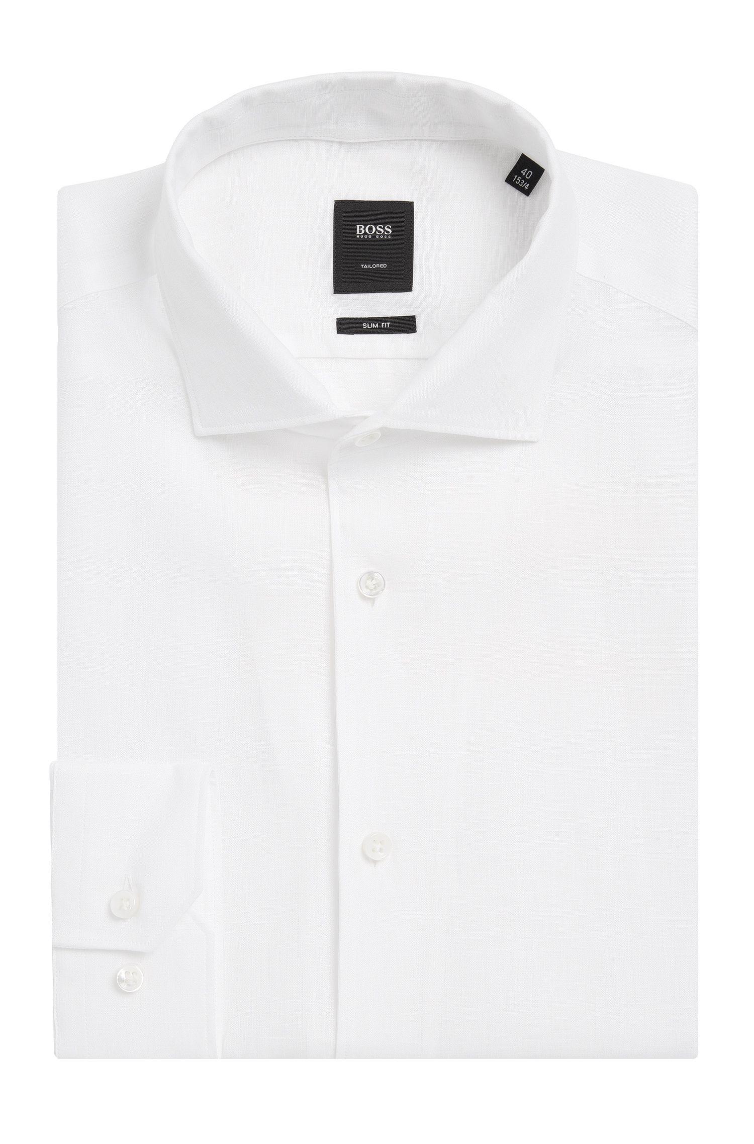 Slim-fit overhemd van linnen uit de Tailored-collectie: 'T-Steven'