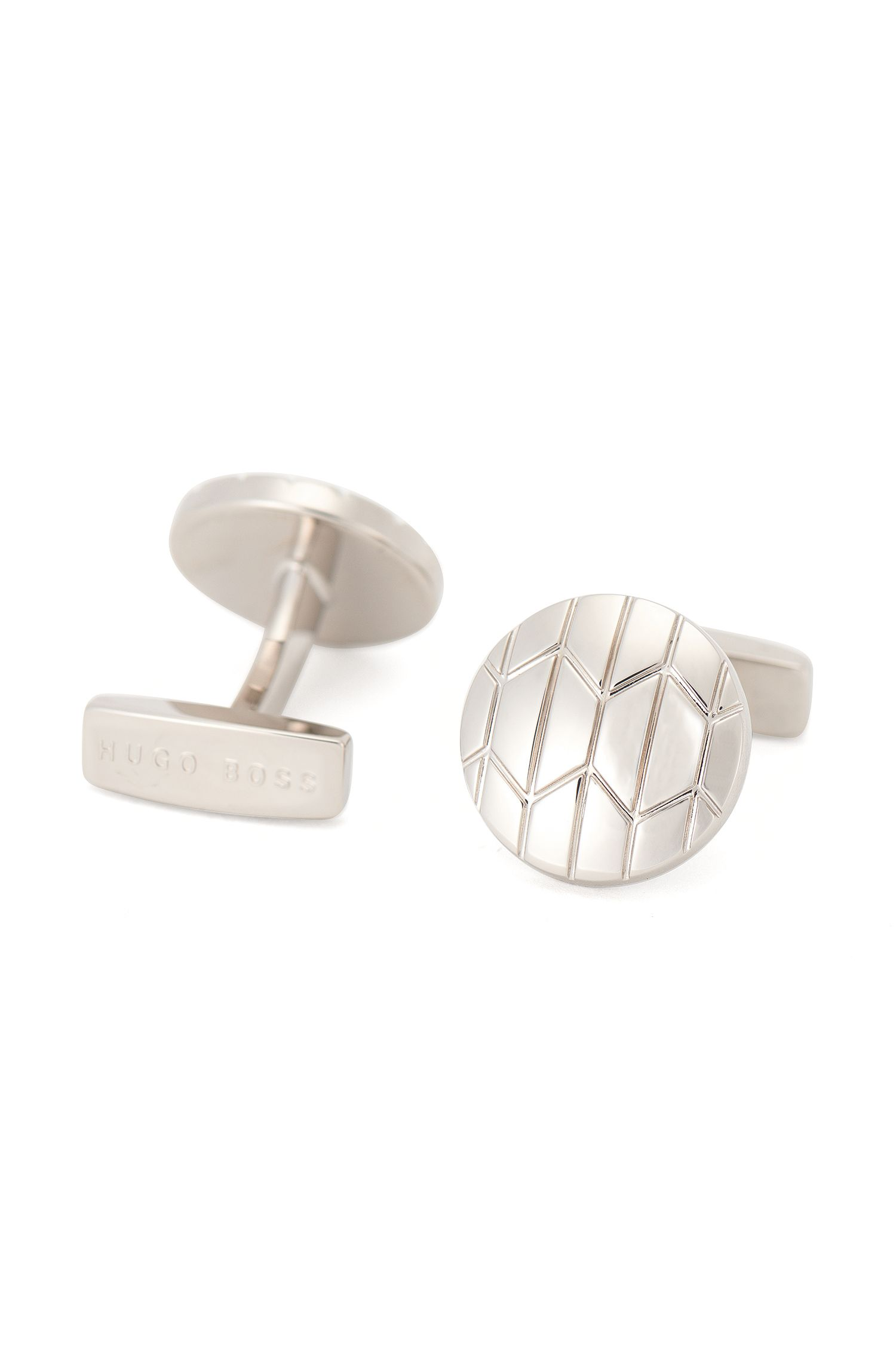 Round cufflinks in brass: 'Jans'