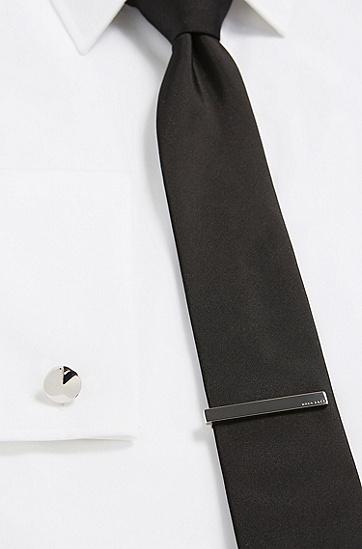 饰以雕刻式logo的抛光棒形领带夹,  040_银灰色