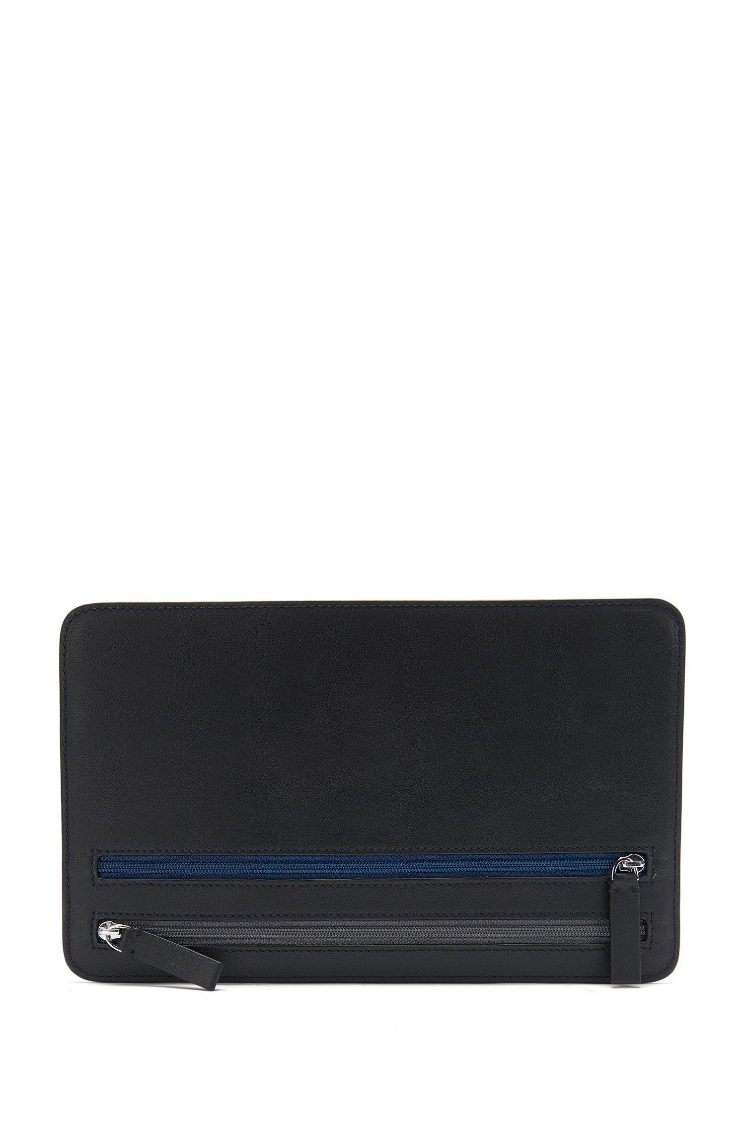 Brieftasche aus Leder mit kontrastfarbenen Reißverschlüssen: 'Traveller_Multi curr'