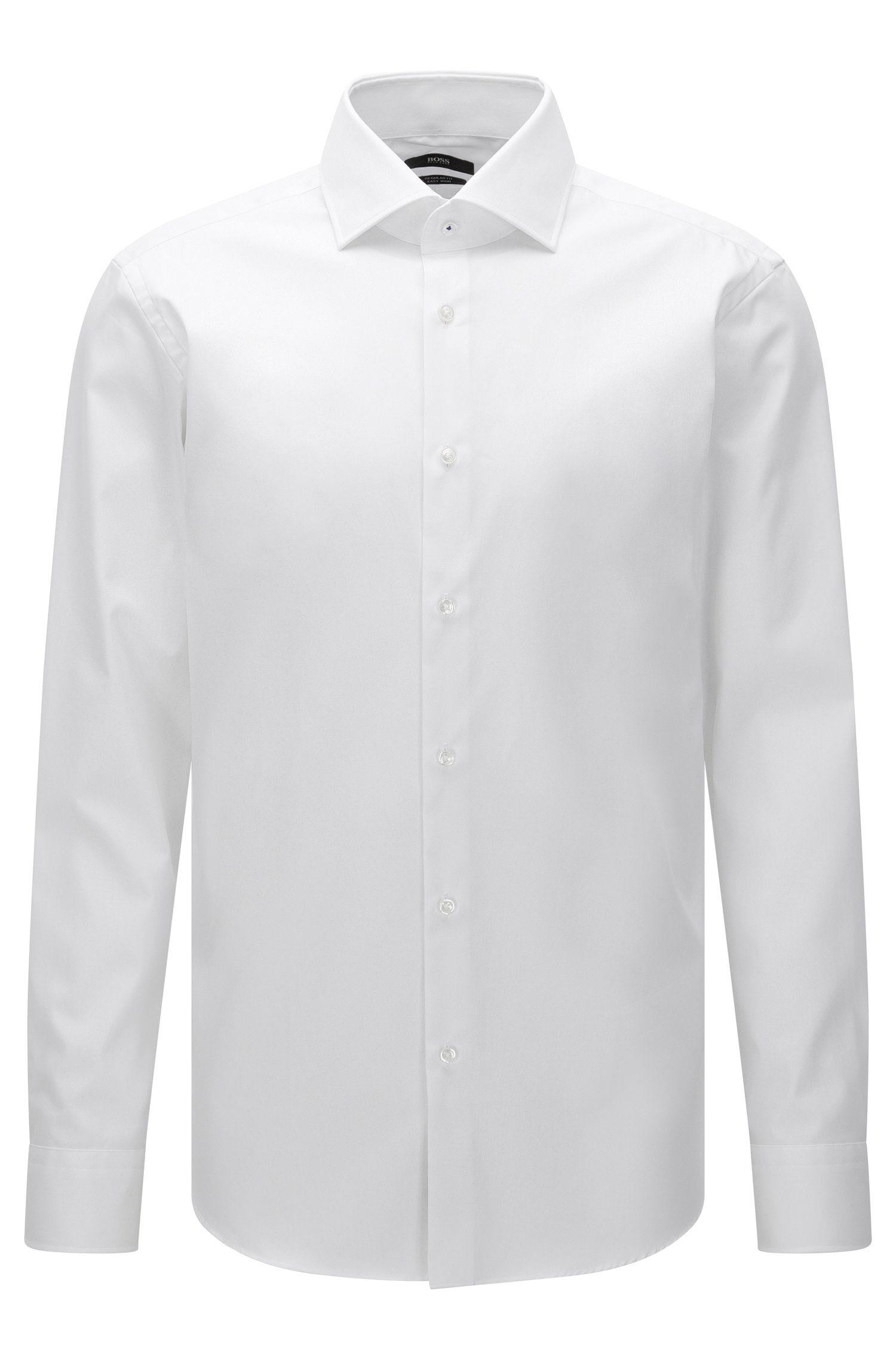 Unifarbenes Regular-Fit Hemd aus bügelleichter Baumwolle: 'Gert'