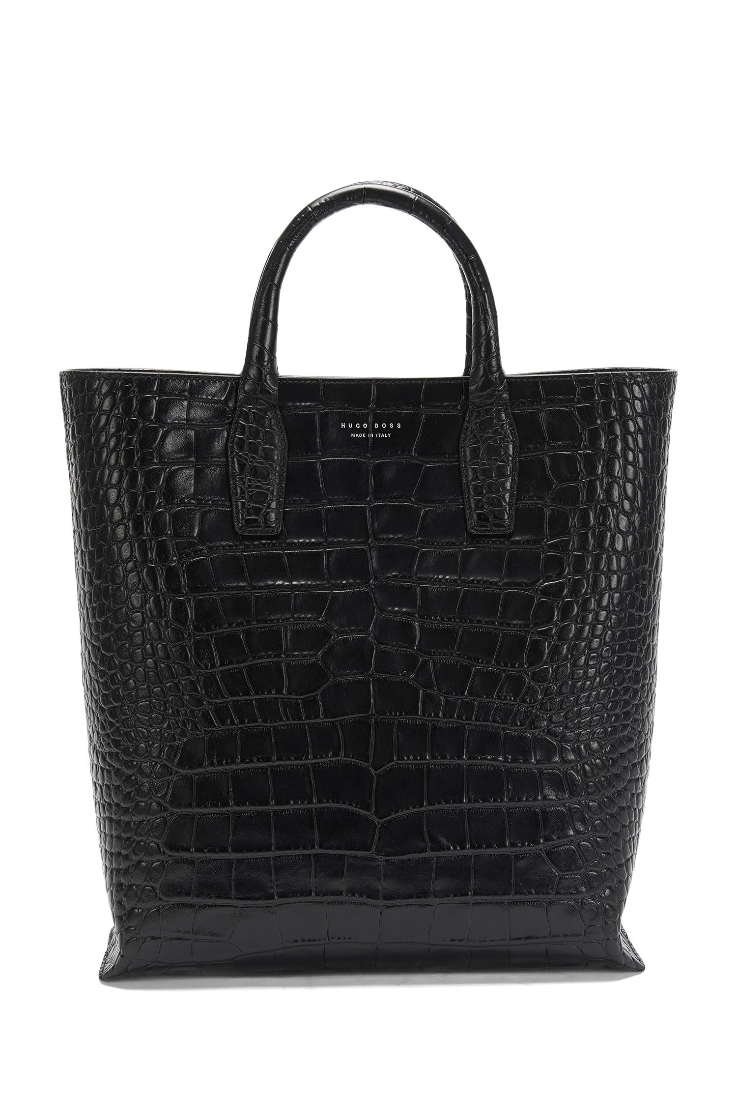 Embossed leather shopper: 'Elite_C Tote'