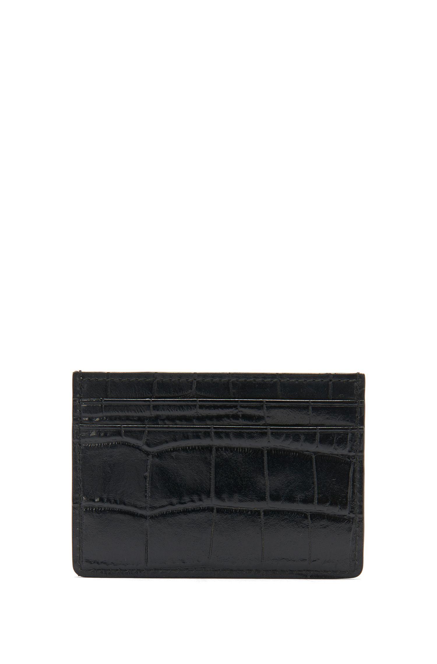 Im Kroko-Stil geprägtes Kartenetui aus Leder: 'Elite C_S card'