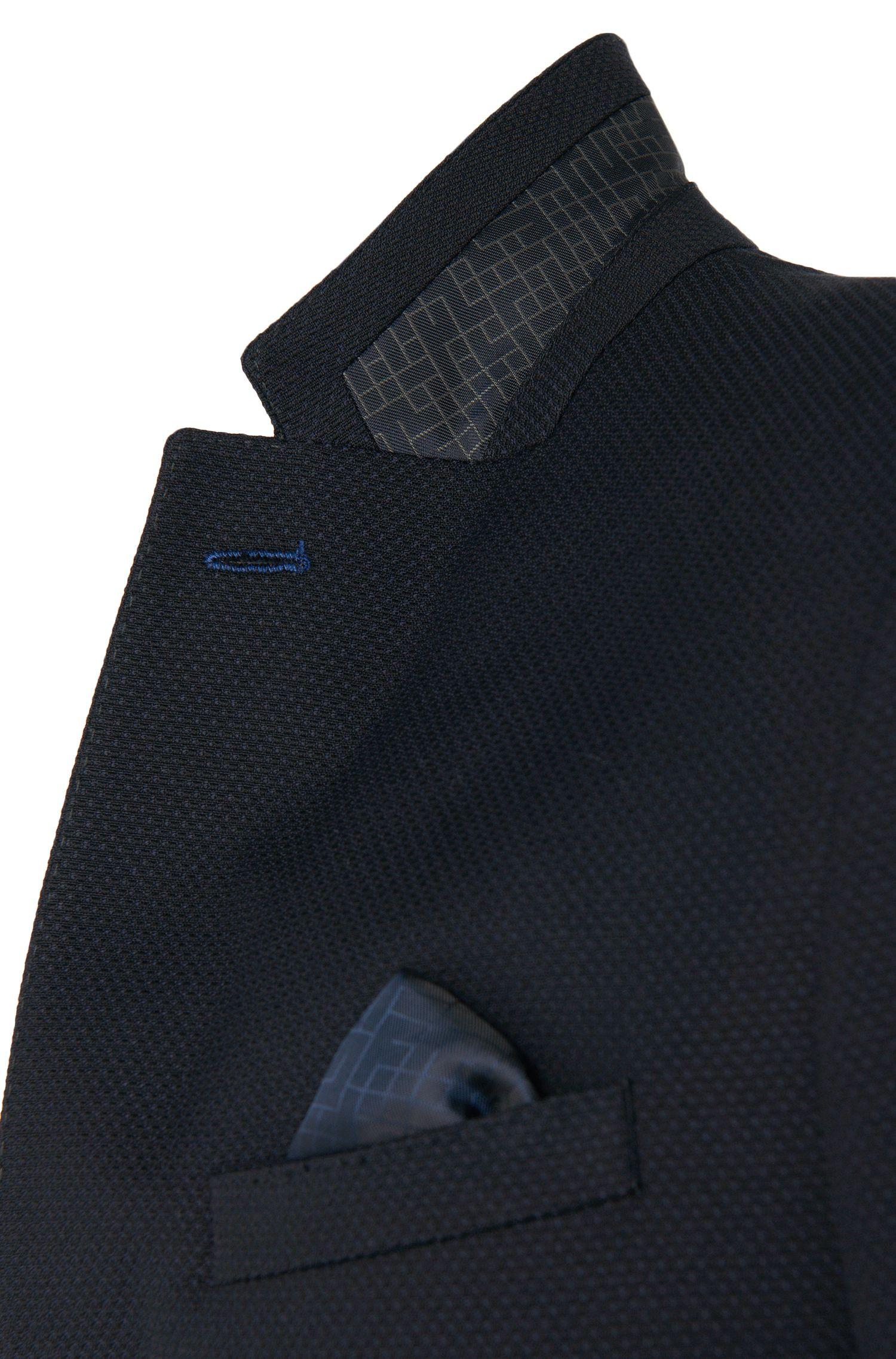 Veste de costume Slim Fit en coton mélangé extensible à teneur en laine vierge: «C-Hamilton1»