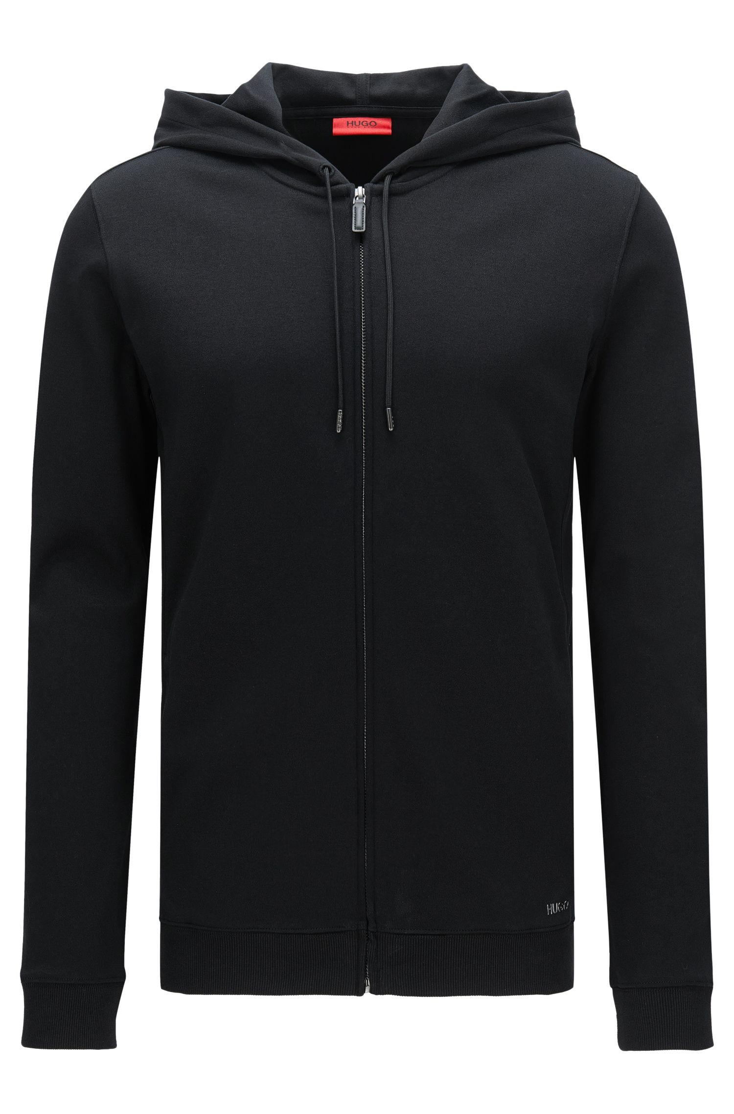 Relaxed-fit hooded sweatshirt jacket in cotton: 'Delinger'