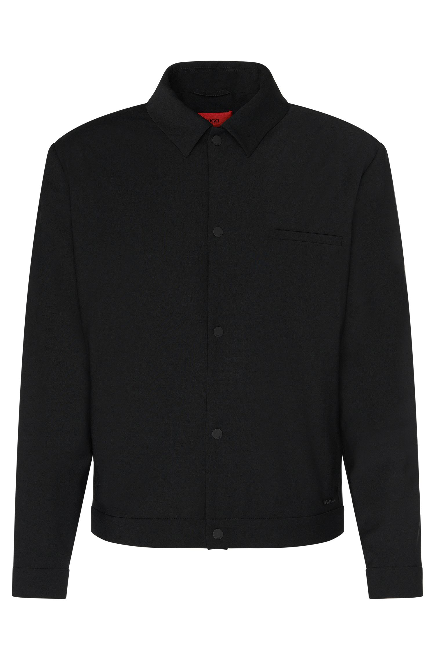 Regular-fit jacket in stretchy new-wool blend with press stud placket: 'Benekto'