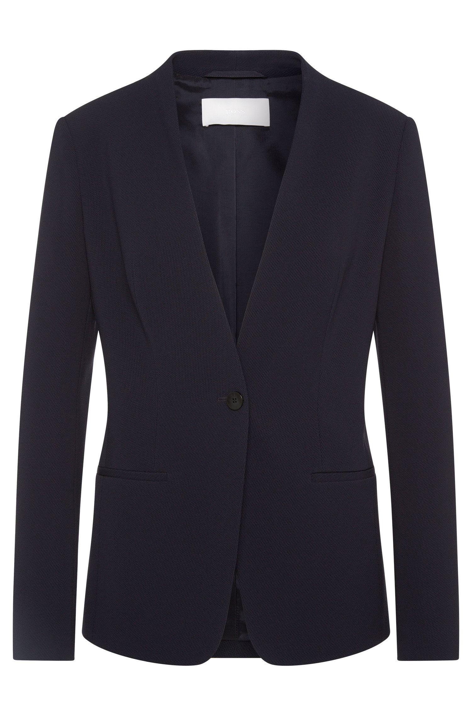 Slim-fit blazer in textured material blend: 'Jurelli'
