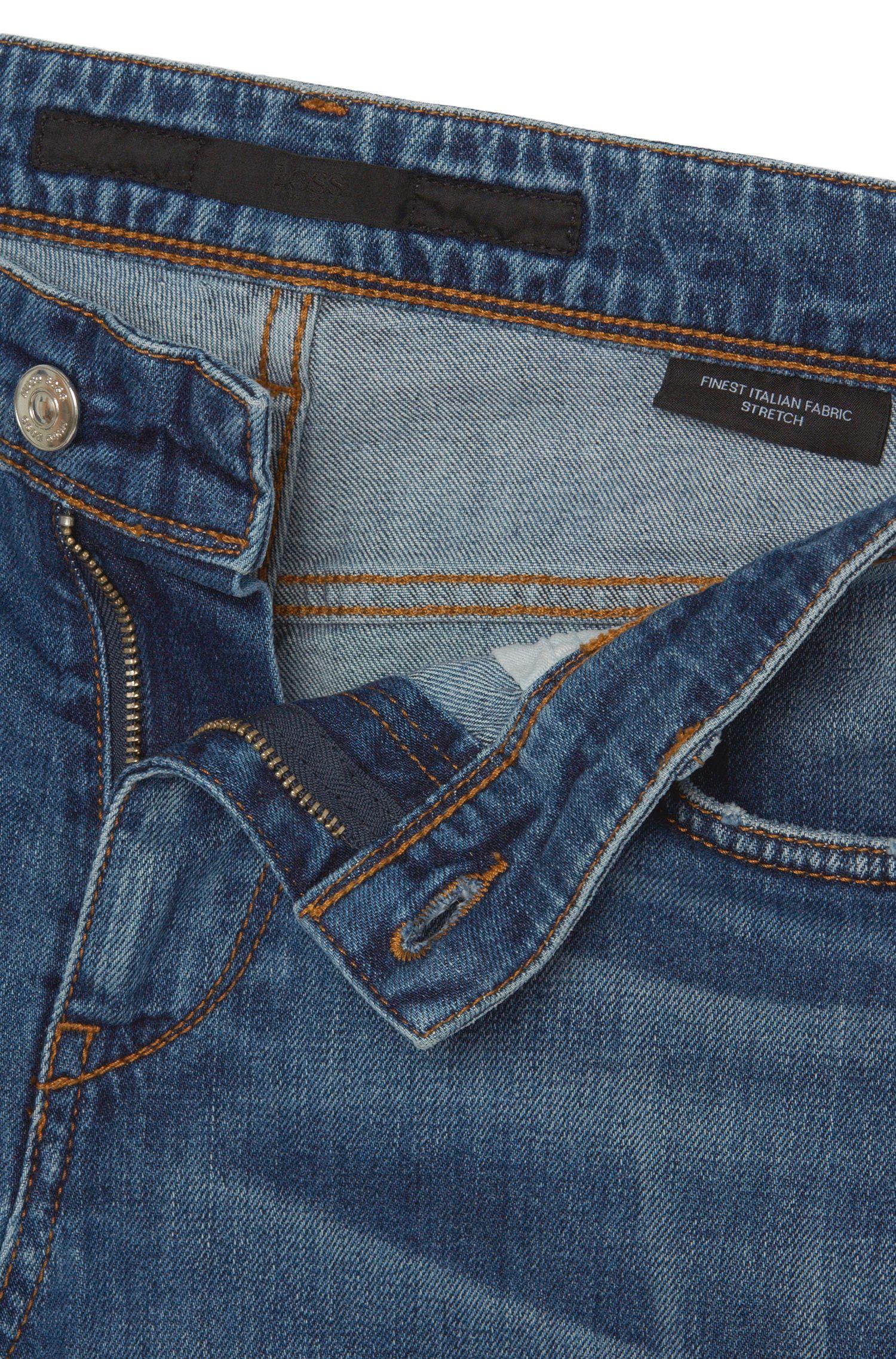 Jeans Slim Fit en coton extensible au délavage usé: «Charleston3»