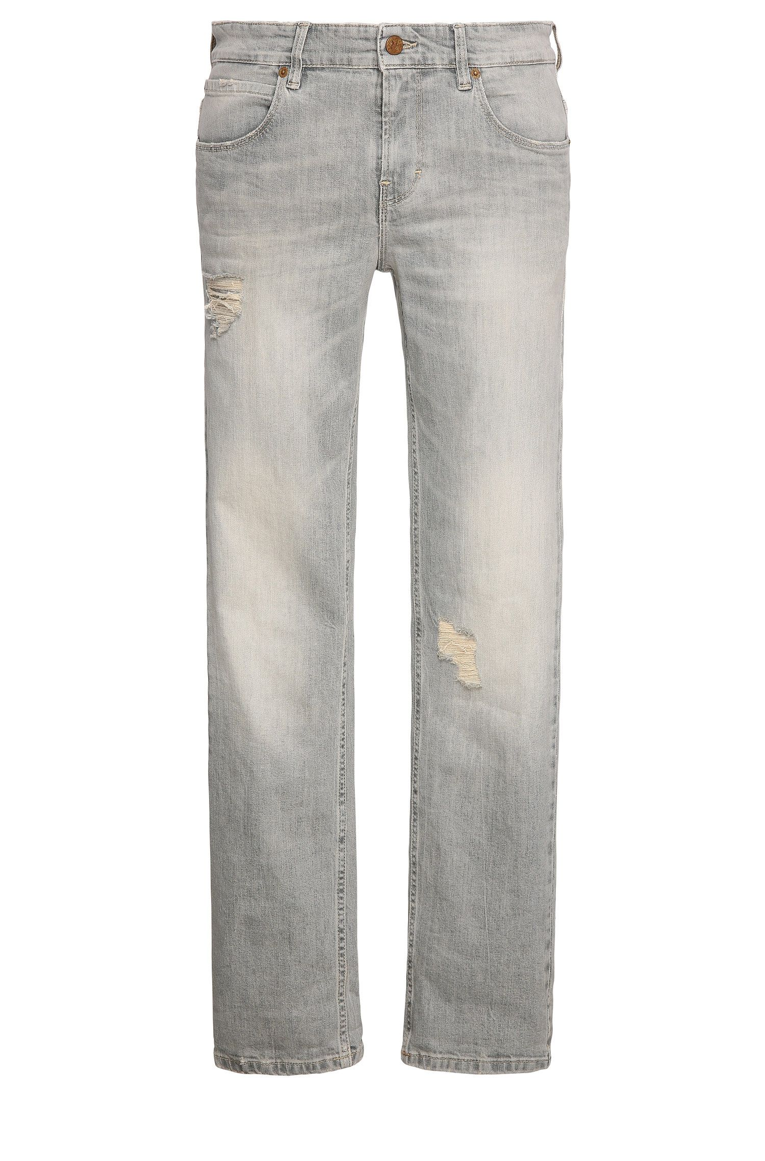 Slim-fit jeans in stretch cotton with distressed look: 'Orange63'