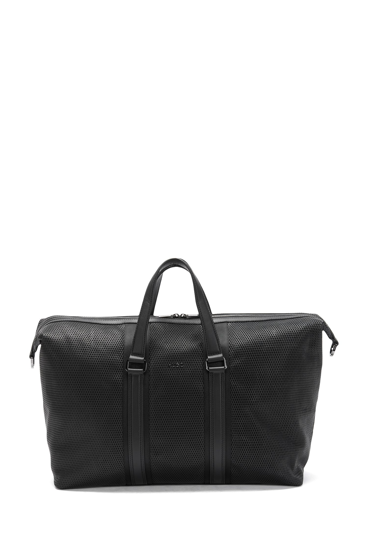 Leather weekender with textile trim: 'Future_Holdall'