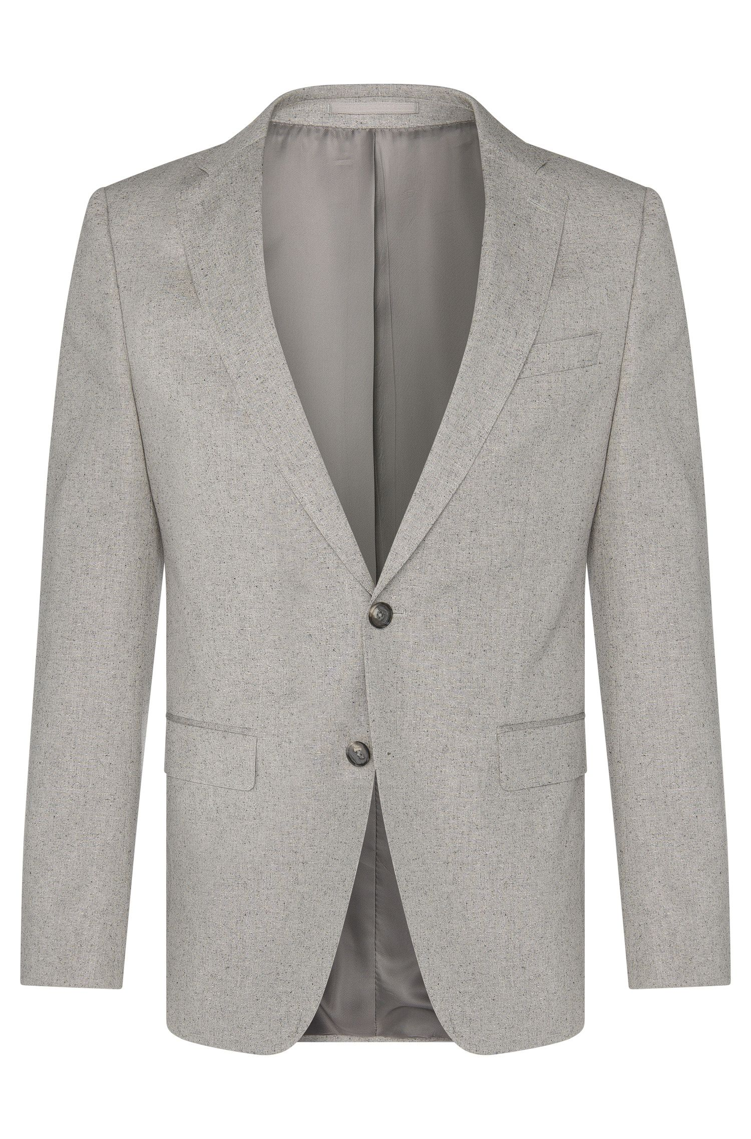 Fein melierter Slim-Fit Anzug aus Baumwoll-Mix mit Seide: 'Novan3/Ben'