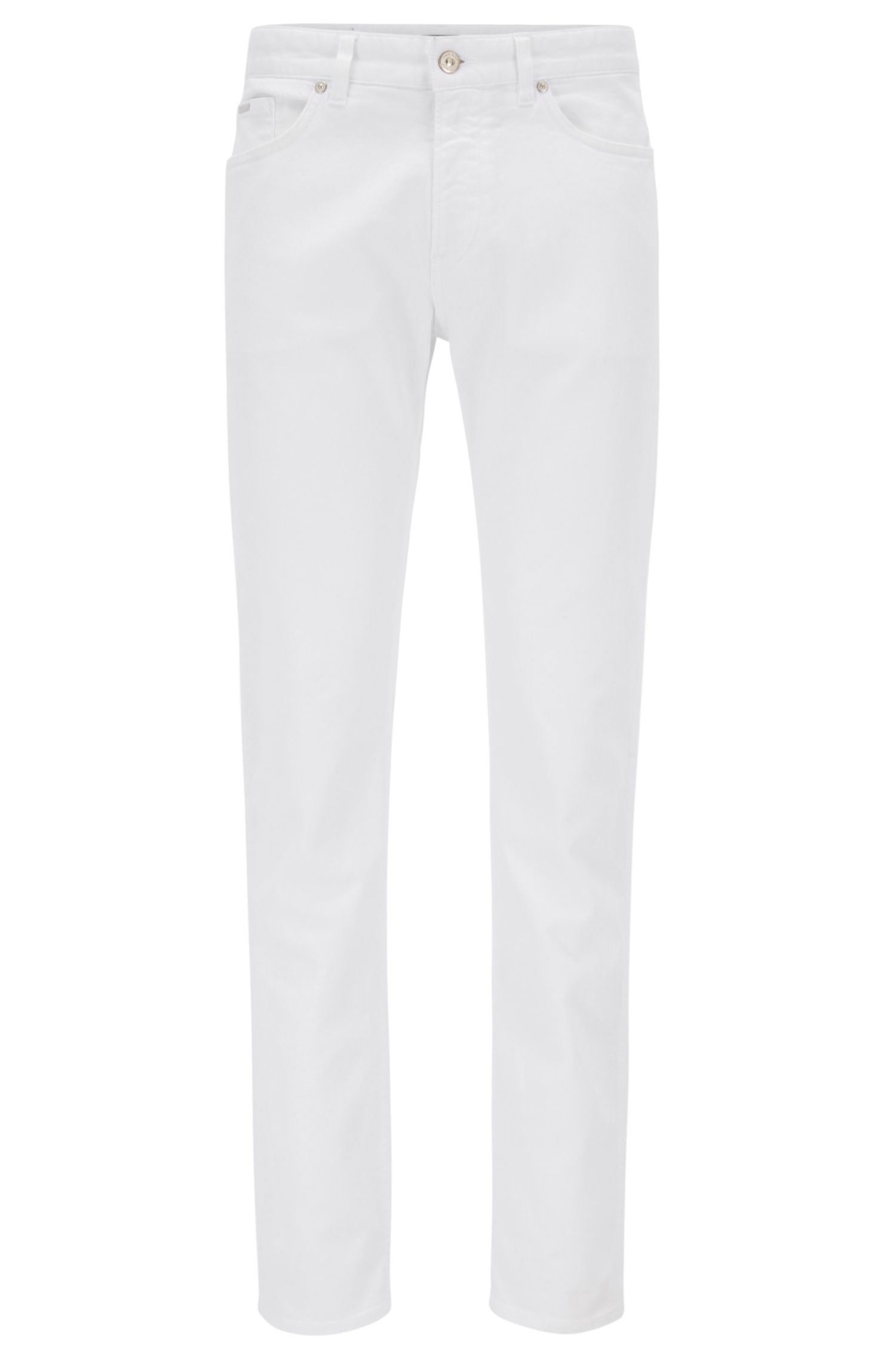 Unifarbene Slim-Fit Jeans aus Stretch-Baumwolle: 'Delaware3'