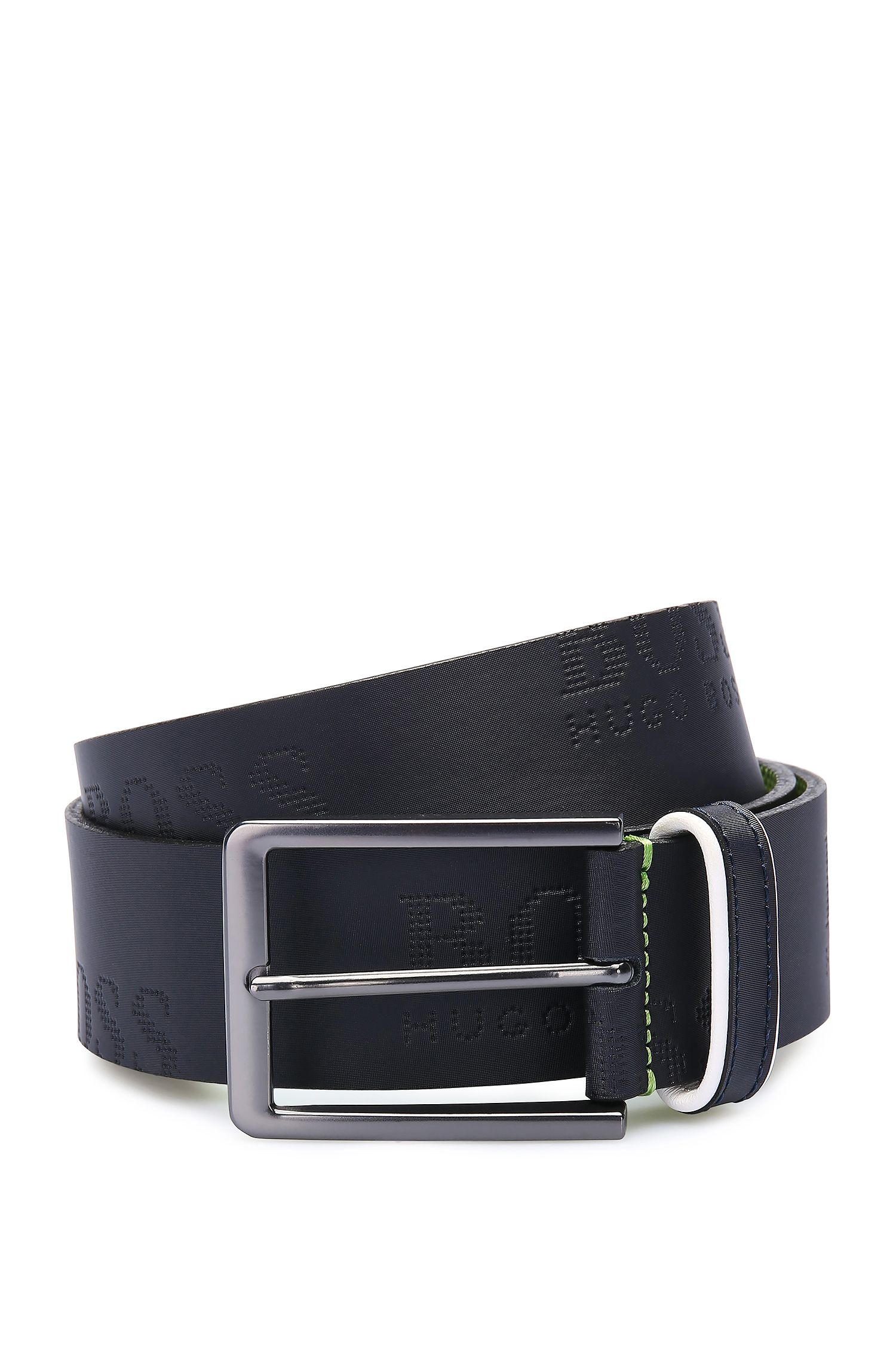 Handmade leather belt with embossed logo: 'Millowo_Sz40_ltem'