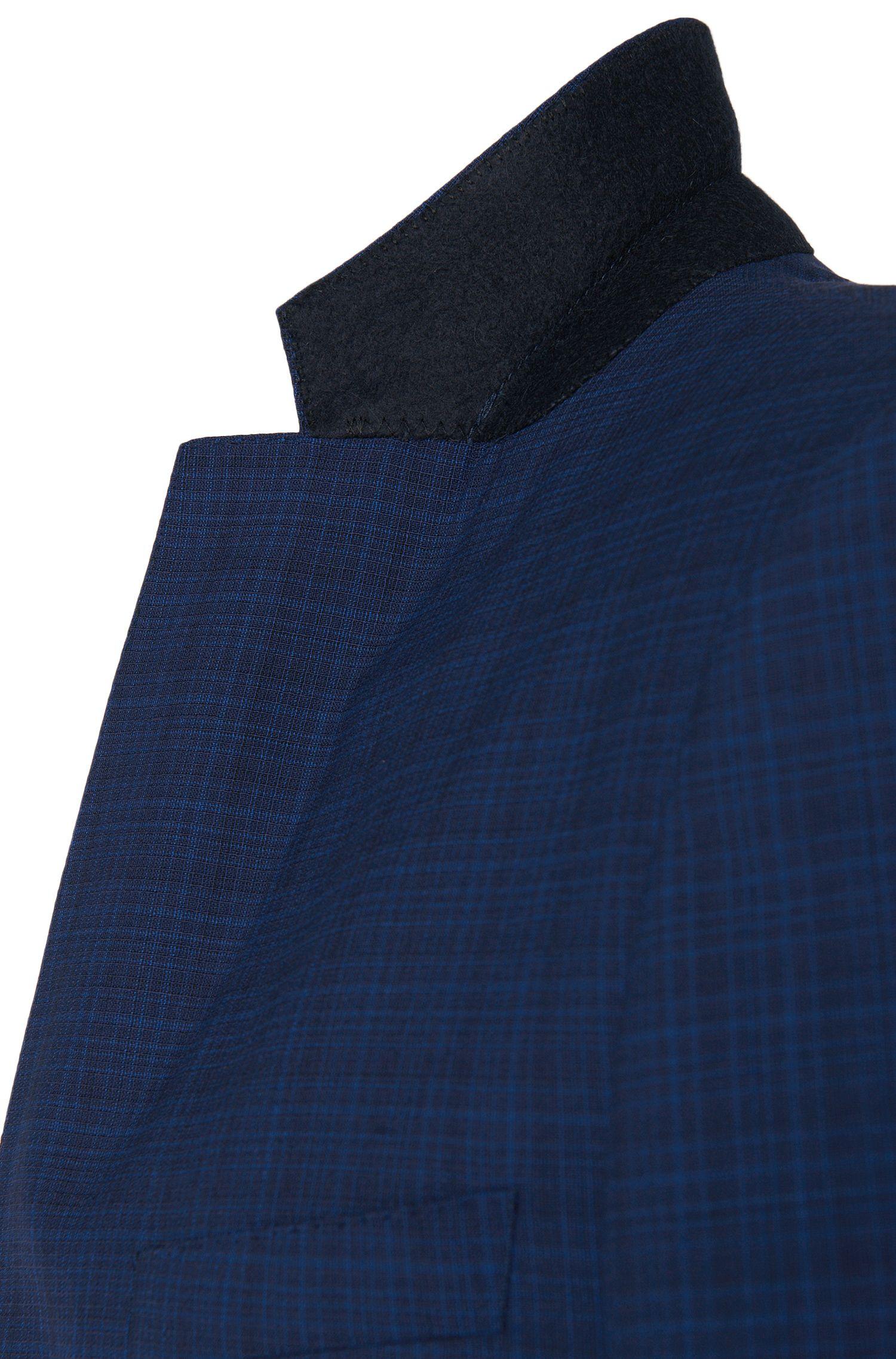 Costume Slim Fit à carreaux fins en pure laine vierge: «Huge5/Genius3»
