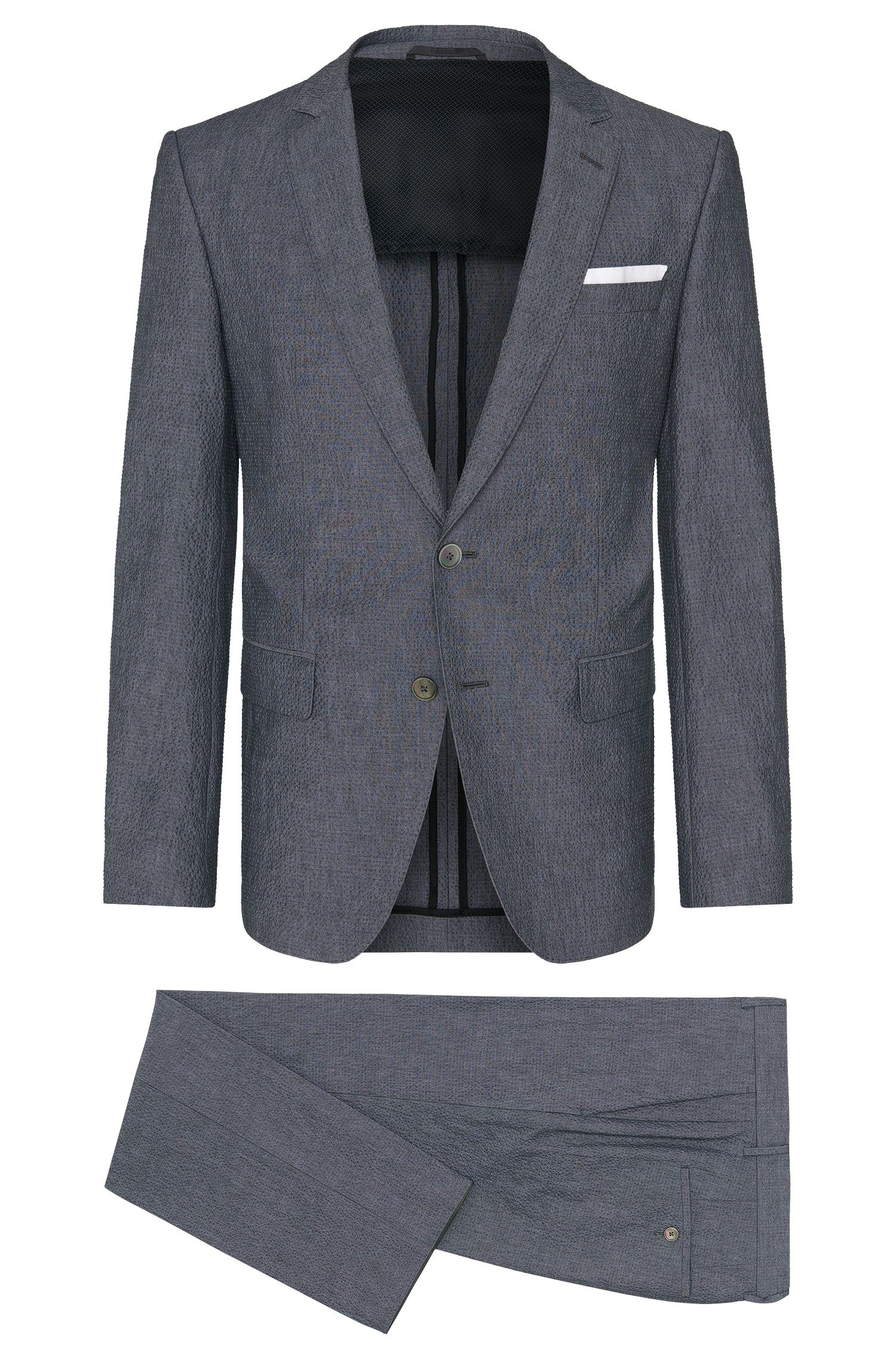 Slim-fit suit in stretch cotton with mother-of-pearl buttons: 'Hedson3/Gander1'