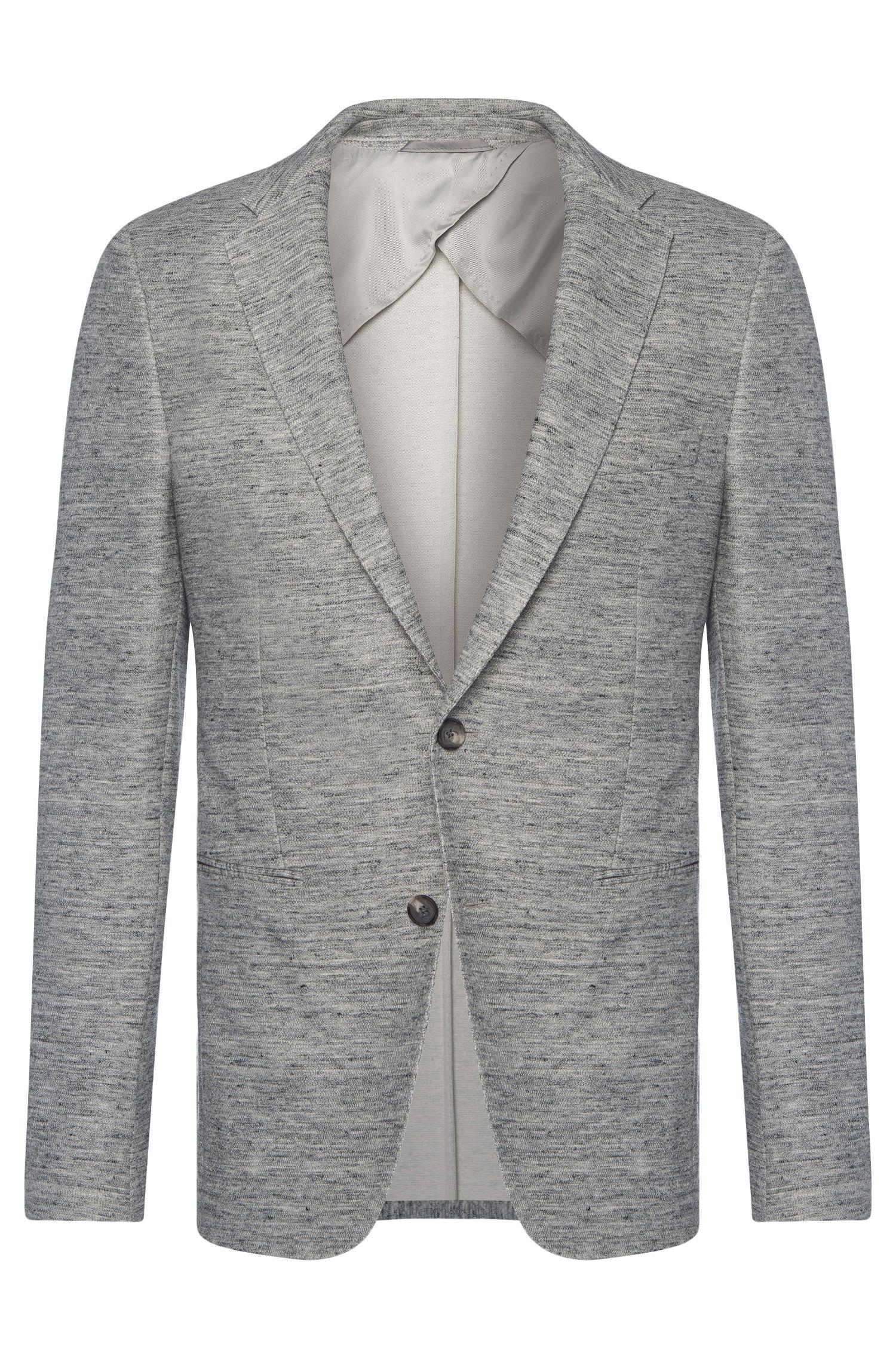 Veste de costume Slim Fit chinée en coton mélangé à du lin: «Norwin1»