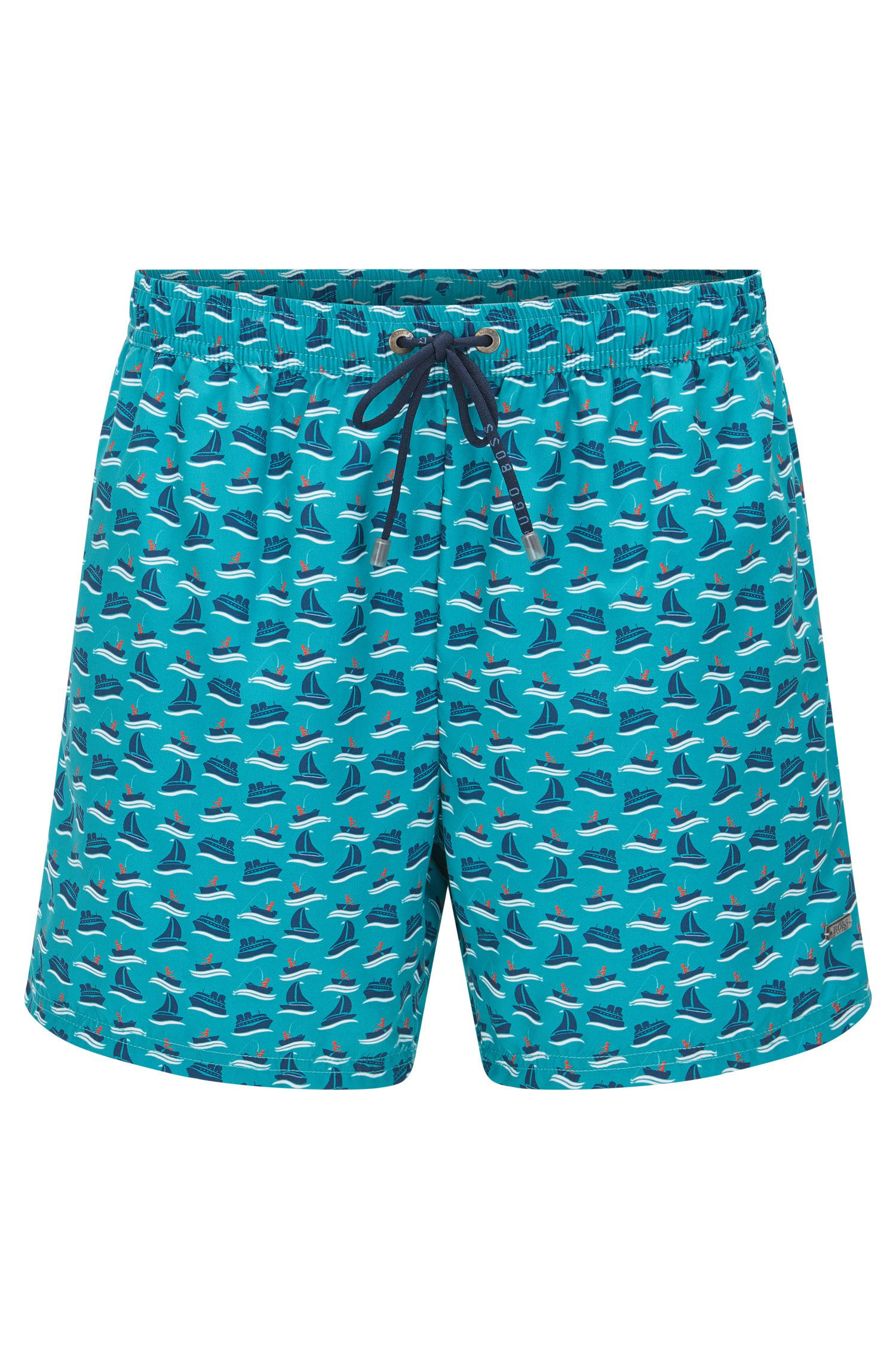 Patterned swim shorts in a quick-drying material blend: 'Piranha'