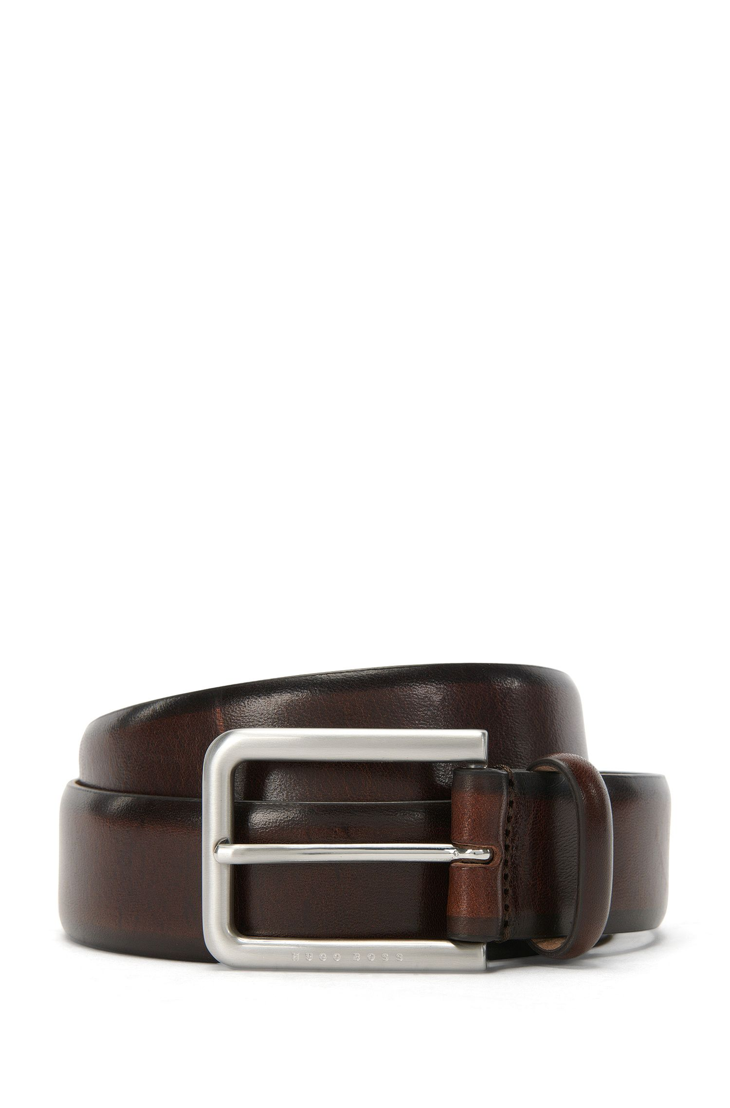 Tailored belt in finely grained leather: 'T-Liam_Sz35_ltst'
