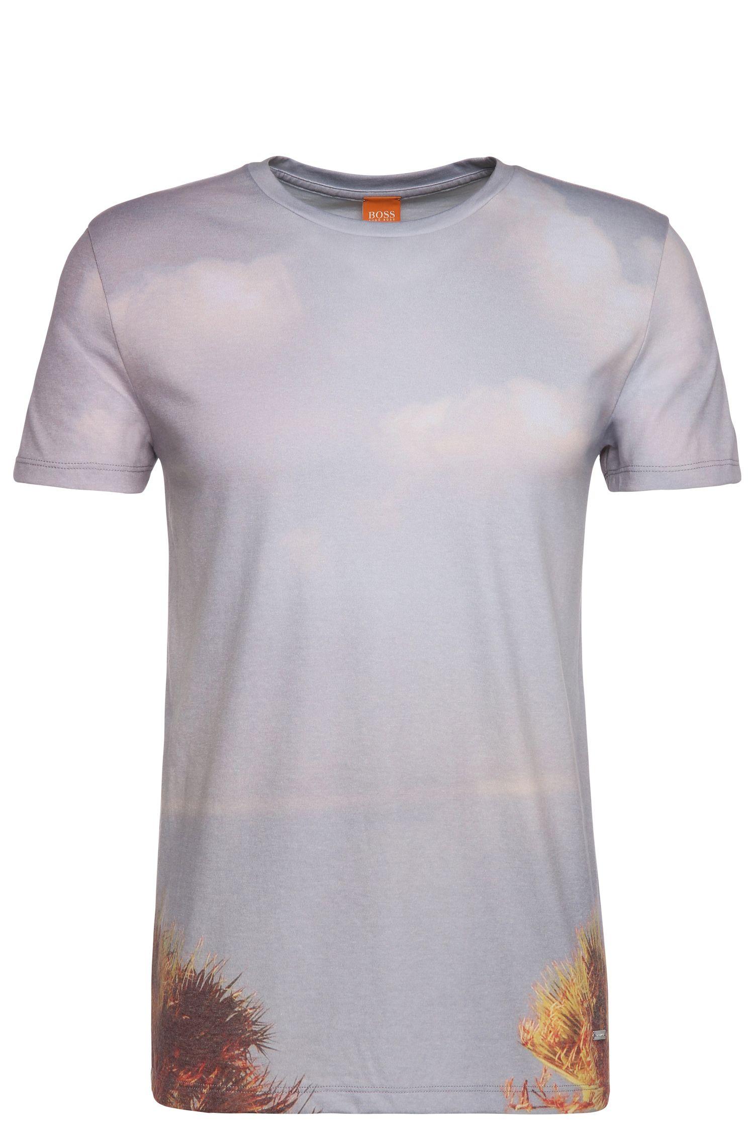 Relaxed-fit shirt met print, van een materiaalmix met katoen: 'Trophy'