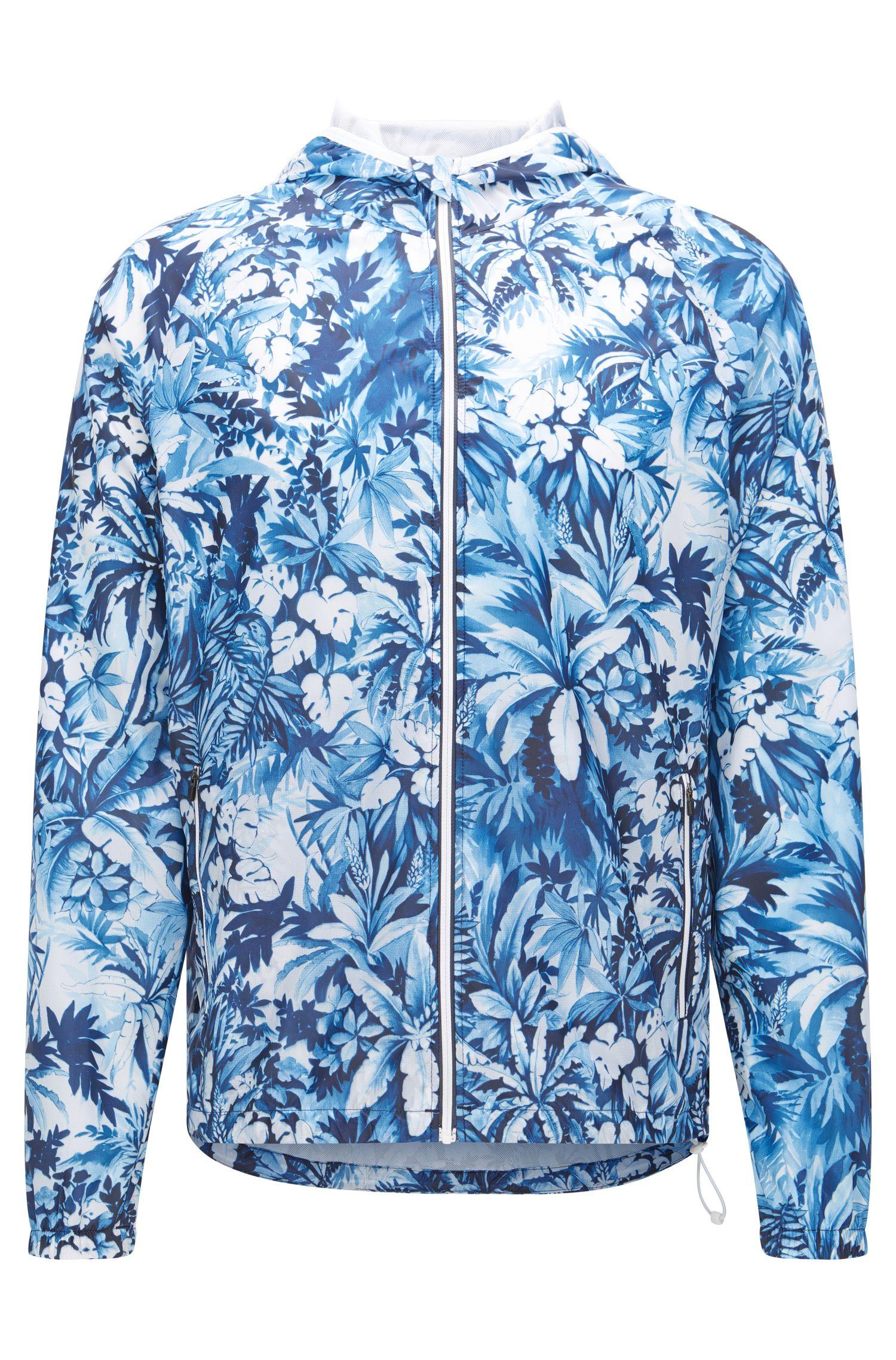 Strandjas van een materiaalmix met capuchon: 'Beach Jacket Zip'