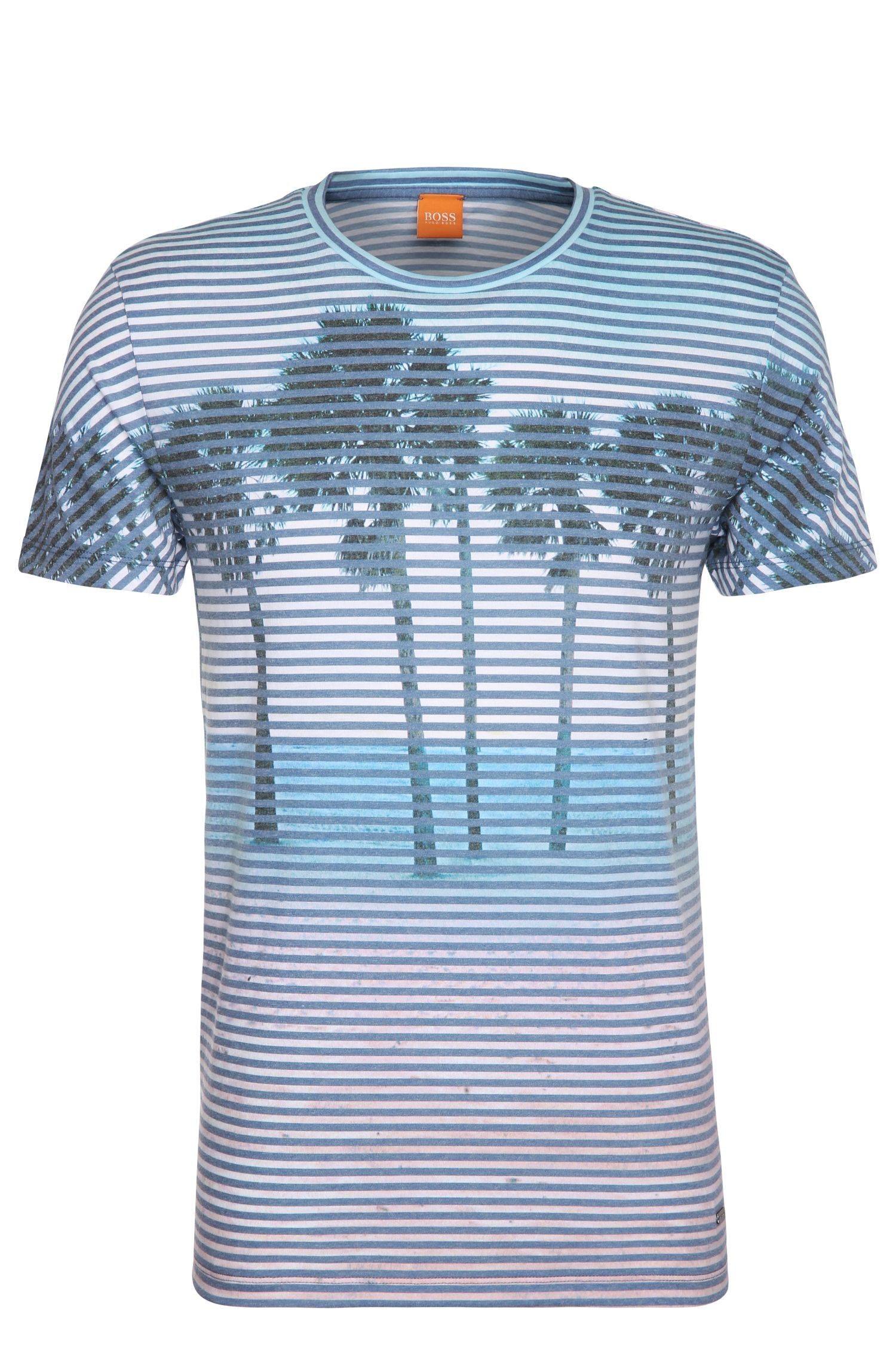 Print t-shirt in material blend with cotton: 'Telling'
