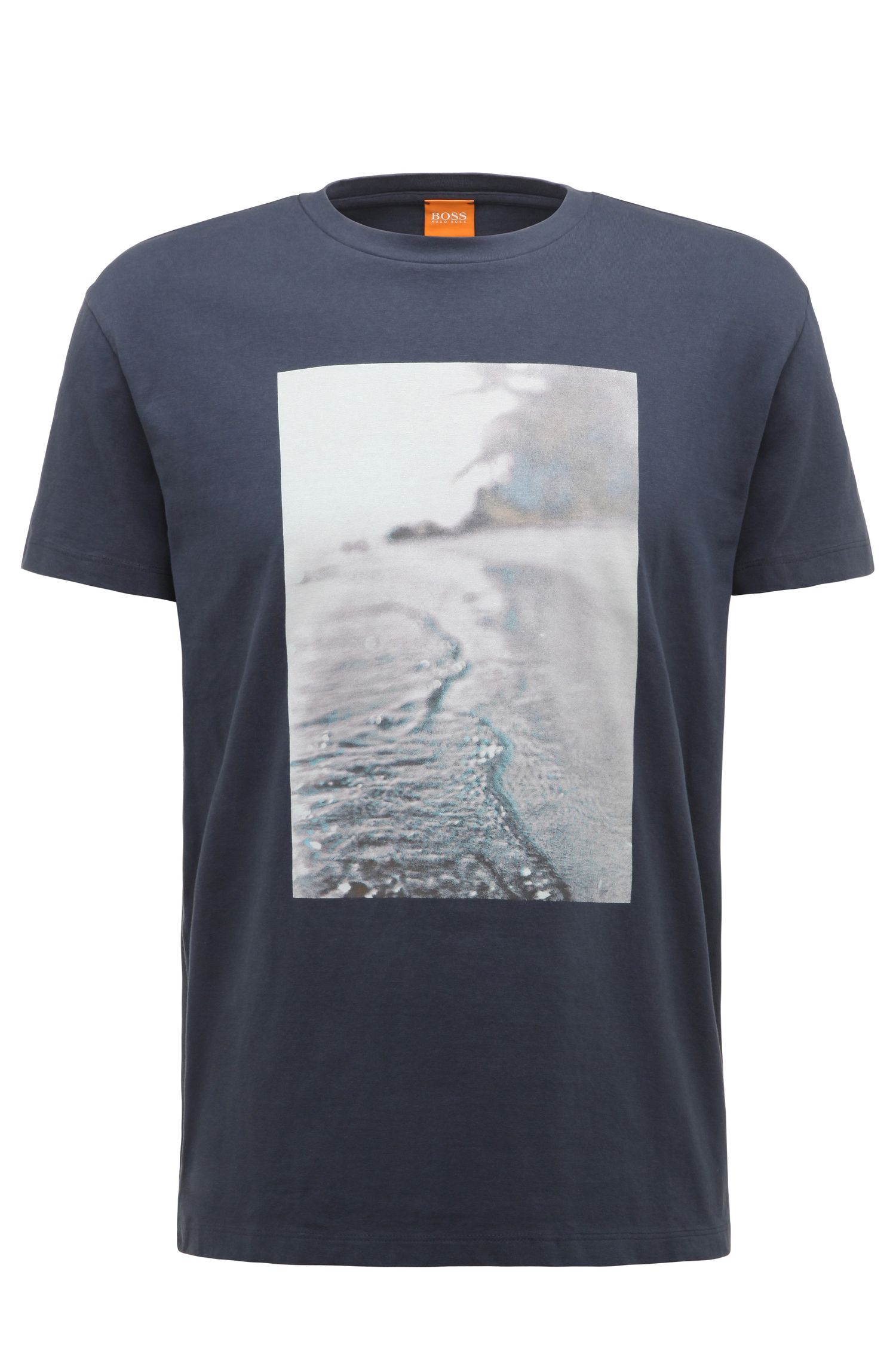 T-shirt Regular Fit en coton à motif plage imprimé: «Trying 3»