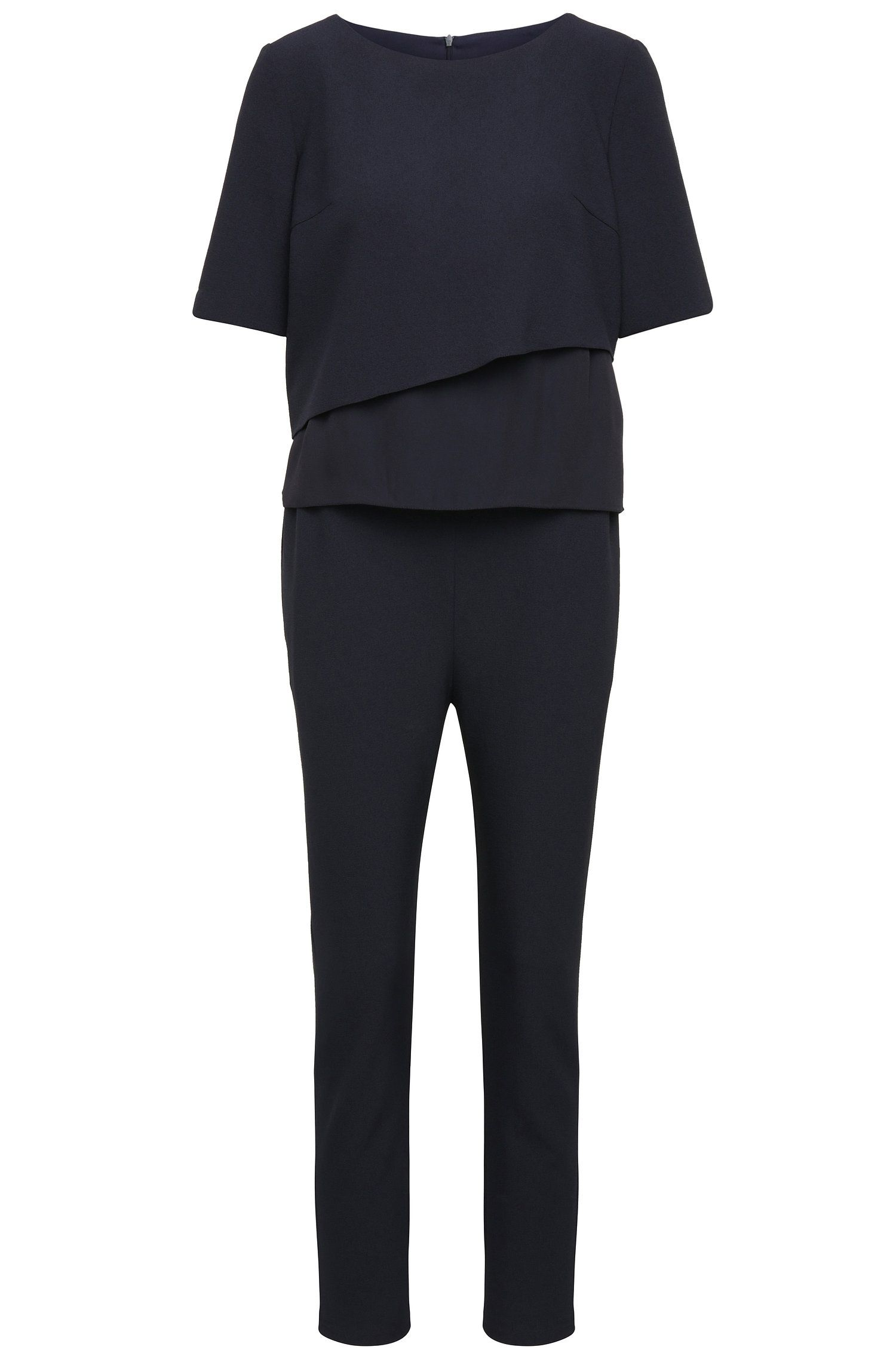 Regular-fit jumpsuit in stretchy material blend with a layered top: 'Alayer'