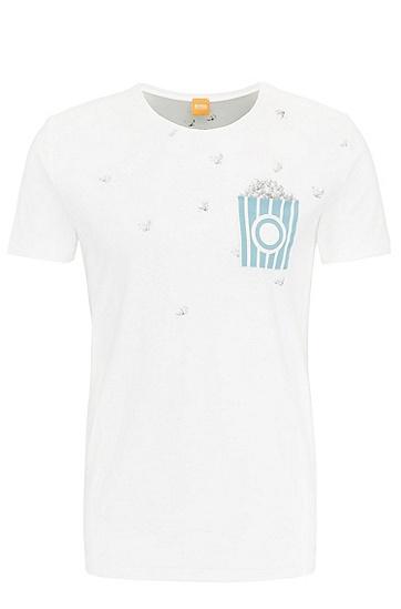 常规版棉质印花T恤,  101_天然色