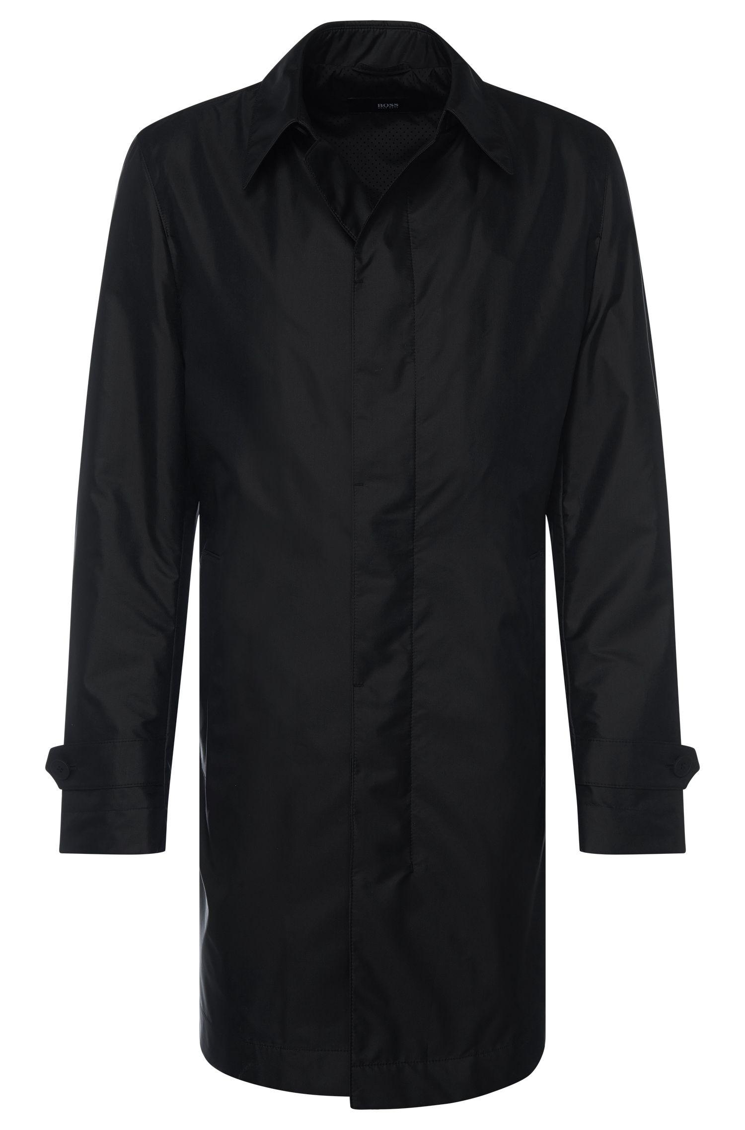 Water-repellent regular-fit coat in fabric blend with silk: 'Garret2'