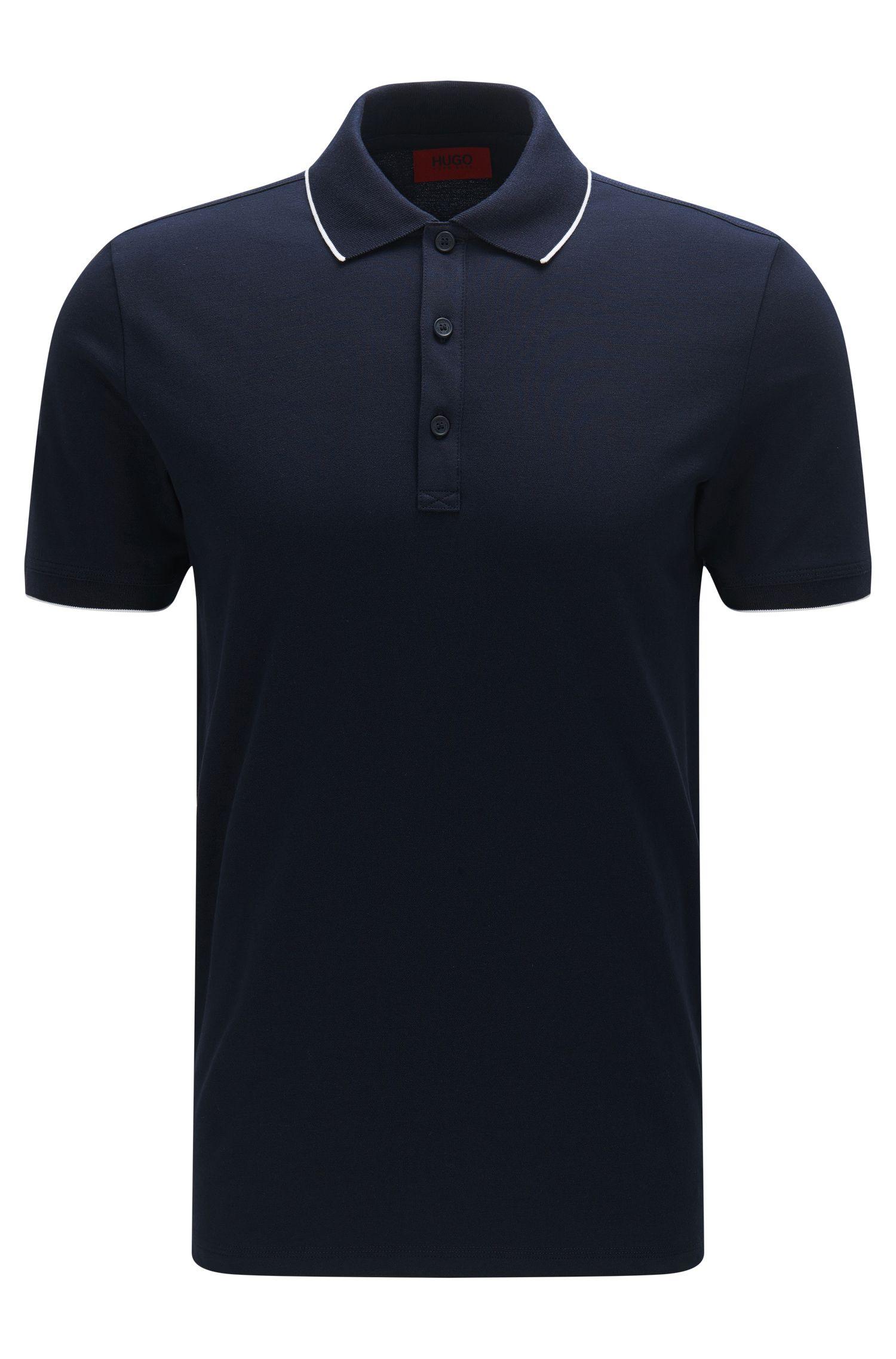 Polo slim fit in cotone elasticizzato con righe a contrasto: 'Delorian'