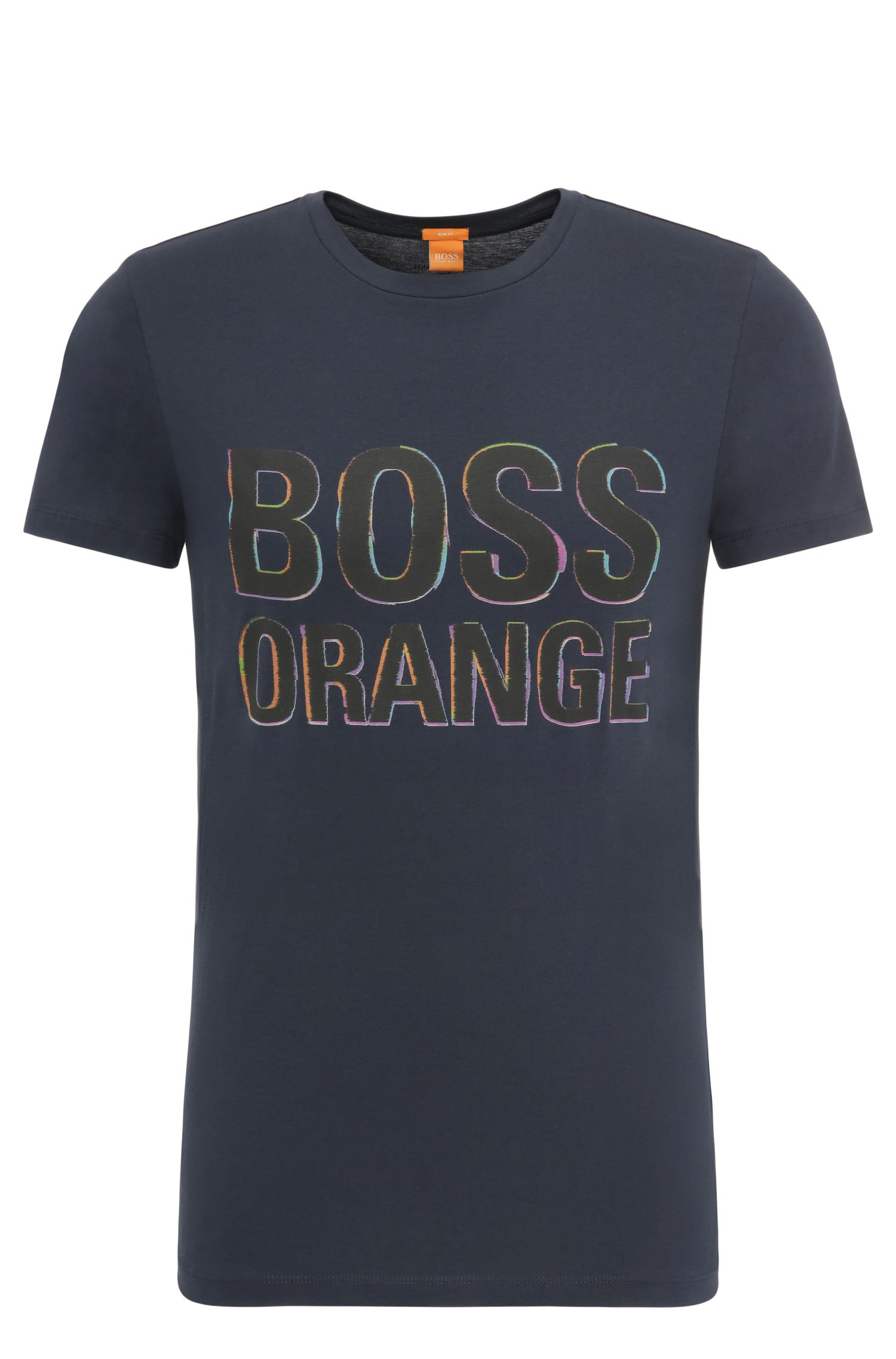 Slim-Fit T-Shirt aus Baumwolle mit Label-Print: ´Tacket 5`