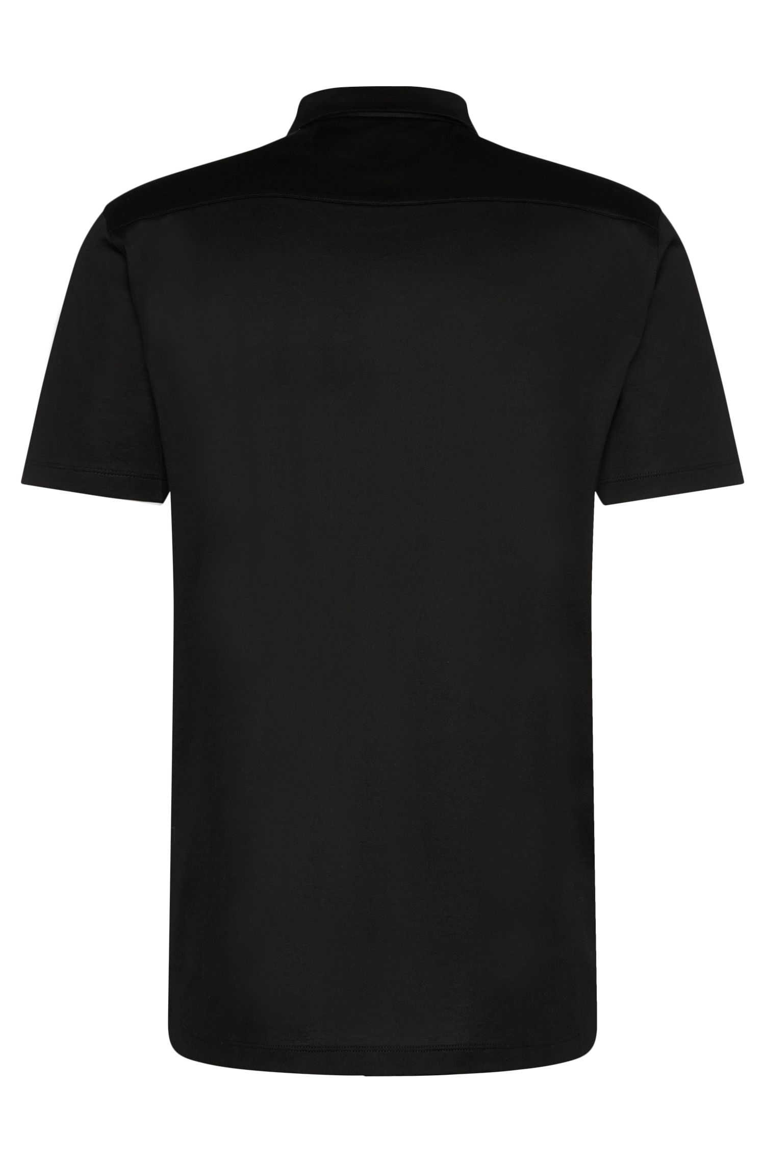 Chemise à manches courtes en coton mercerisé à patte de boutonnage invisible: «Daltos»