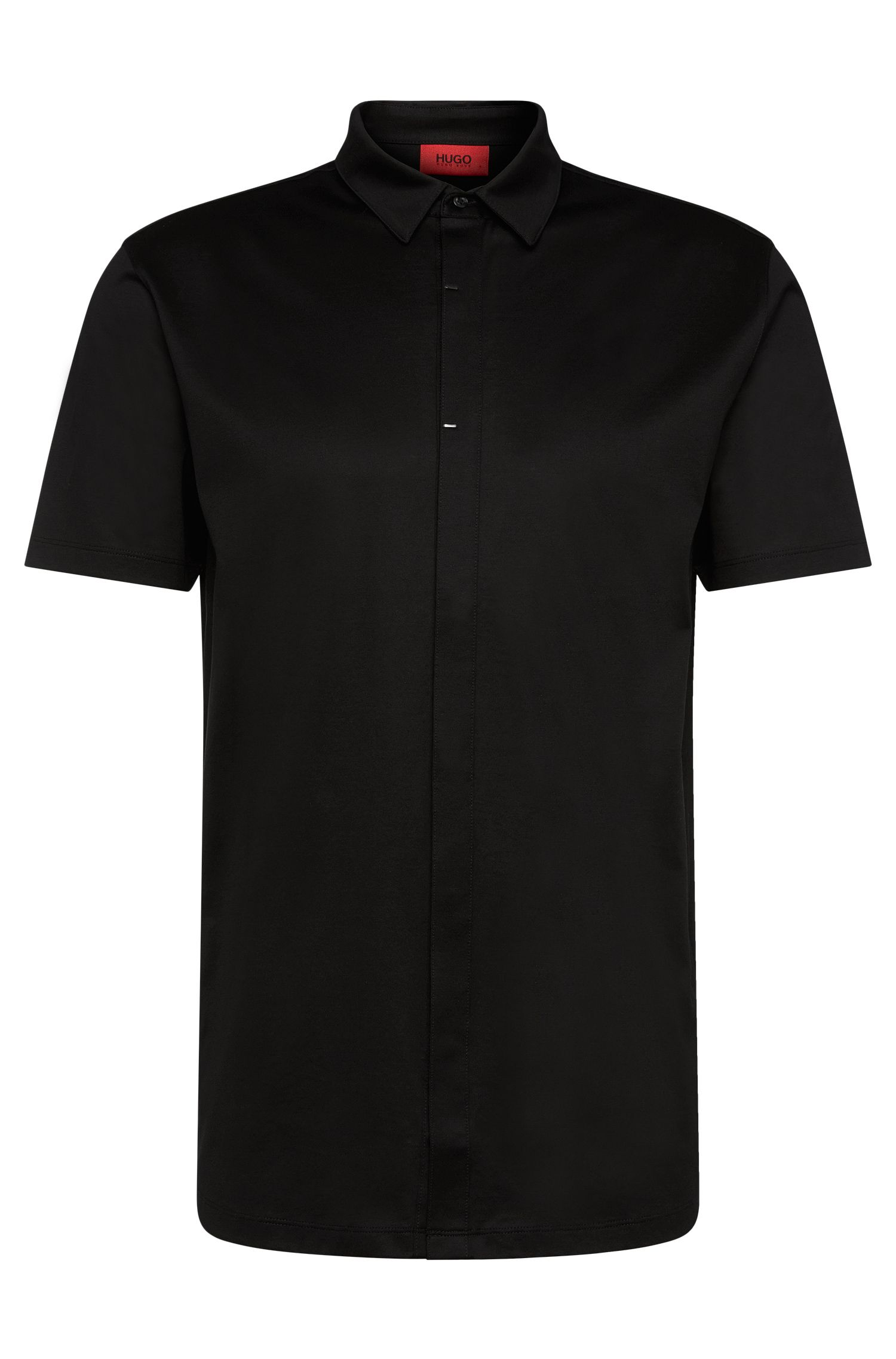 Short-sleeved shirt in mercerised cotton with a concealed button placket: 'Daltos'