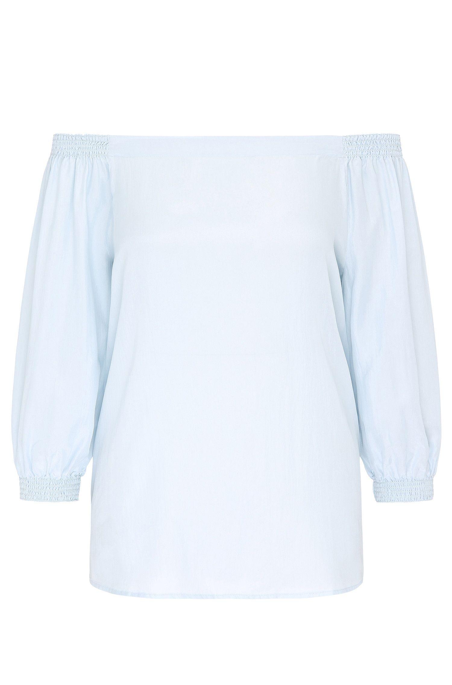 Blusa regular fit con escote vamp en pura seda: 'Eroi'