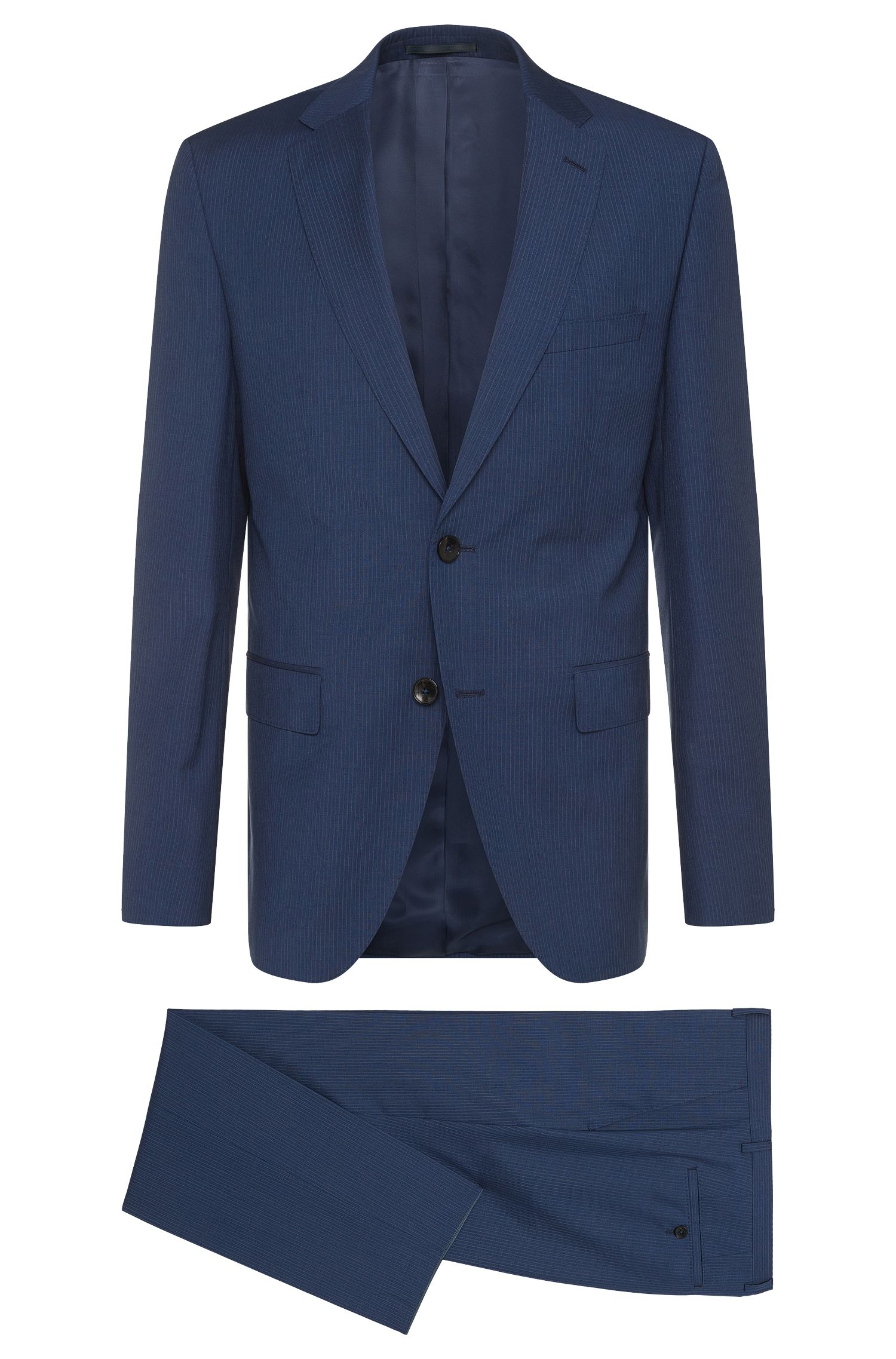 Finely striped regular-cut suit in new wool: 'Johnstons2/Lenon'