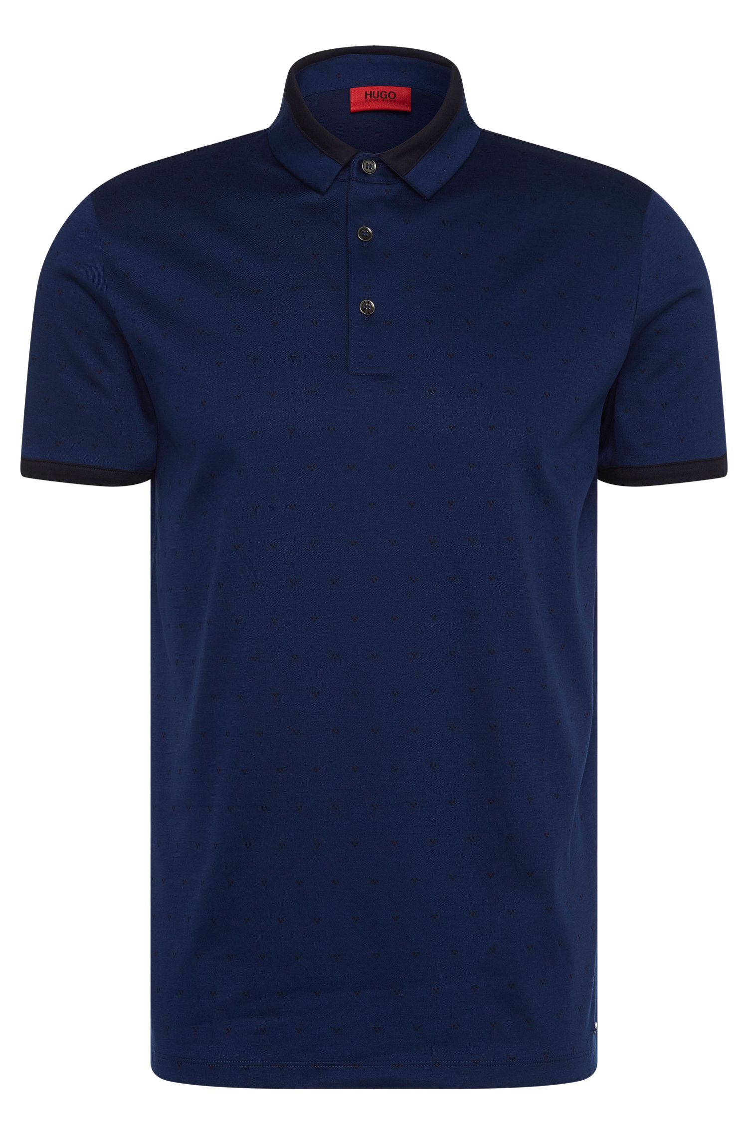 Mottled slim-fit polo shirt in mercerised cotton: 'Denno'