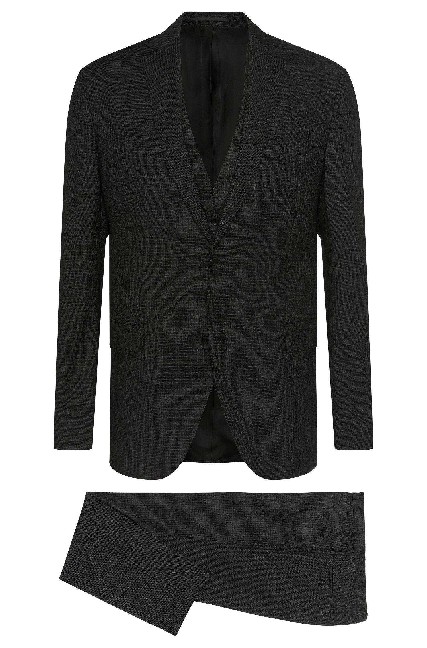 Traje extra slim fit con precioso estampado en mezcla de lana virgen con seda: 'Reyno3/Wave1 WE'