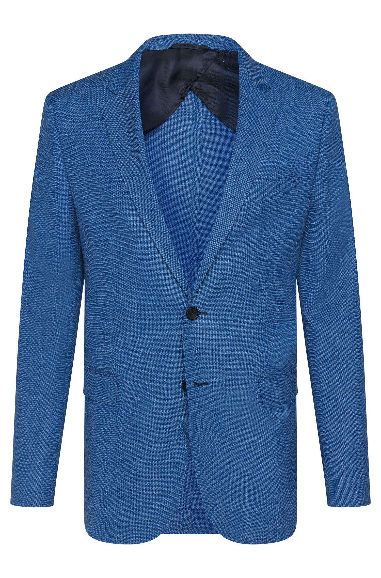 Textured slim-fit jacket in new wool with horn buttons: 'Nobis2'