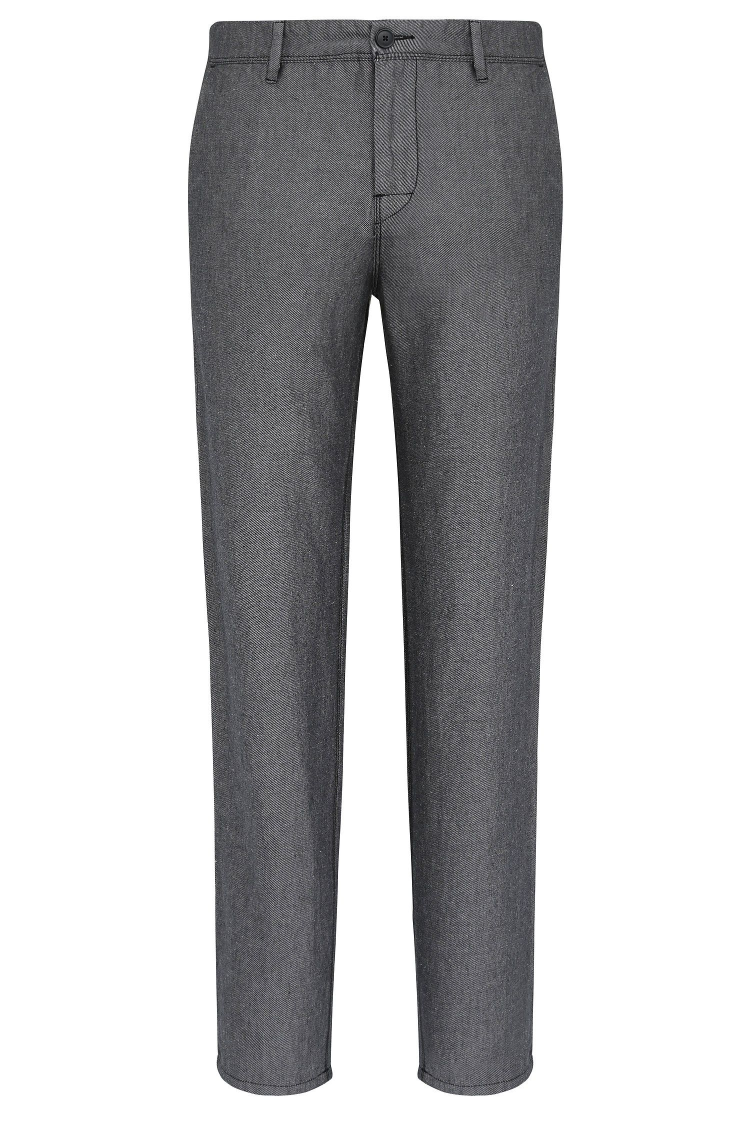 Tapered-fit chinos in linen blend with cotton: 'Stapered1-W'