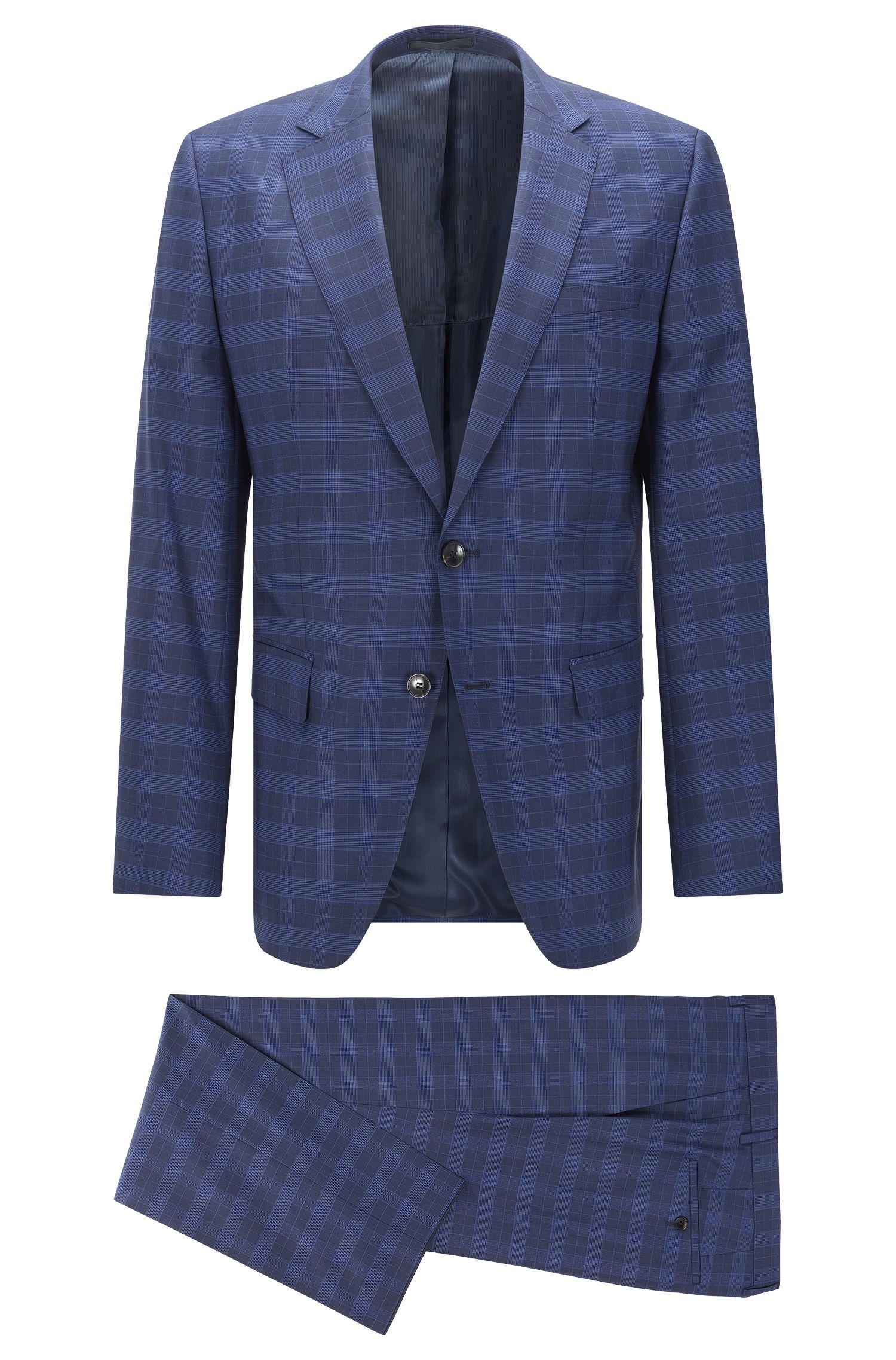 Checked slim fit suit in new wool blend with silk: 'Huge 5/Genius3'