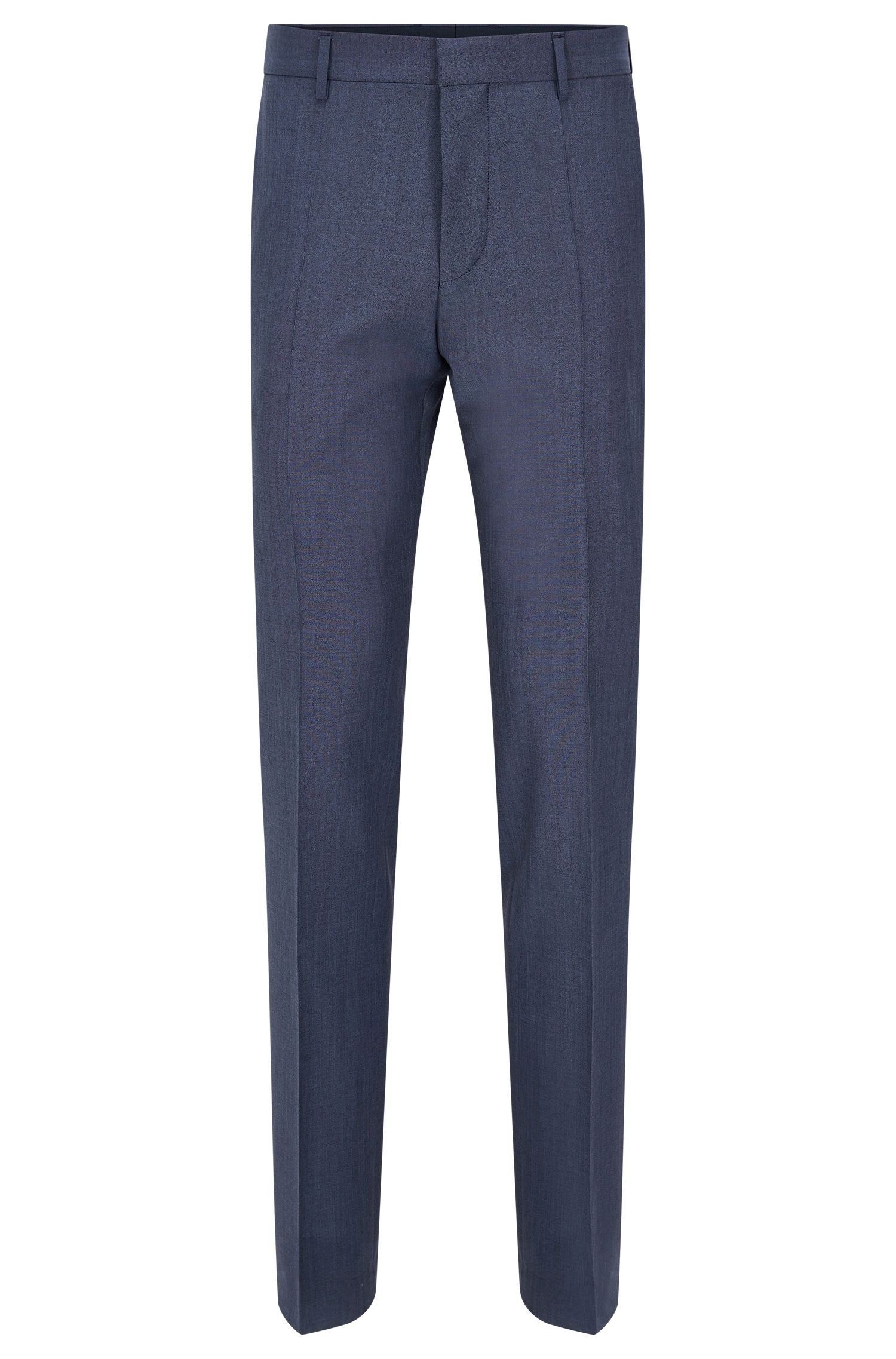 Slim-fit broek met scherpe vouwen, van een scheerwolmix met mohair: 'Genesis2'
