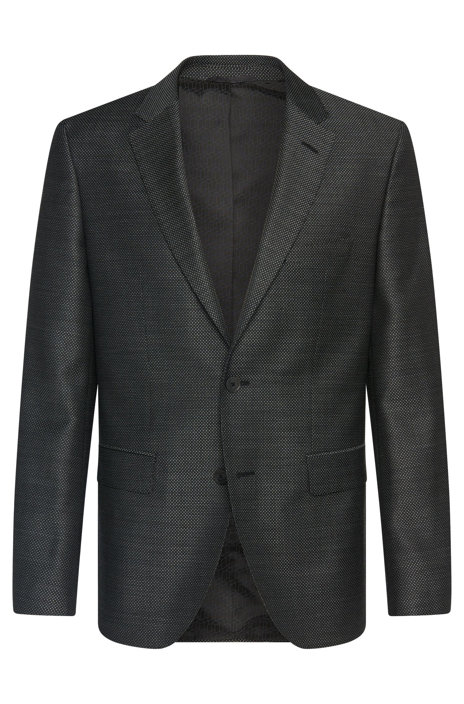 Finely checked regular-fit jacket in new wool: 'Jewels1'