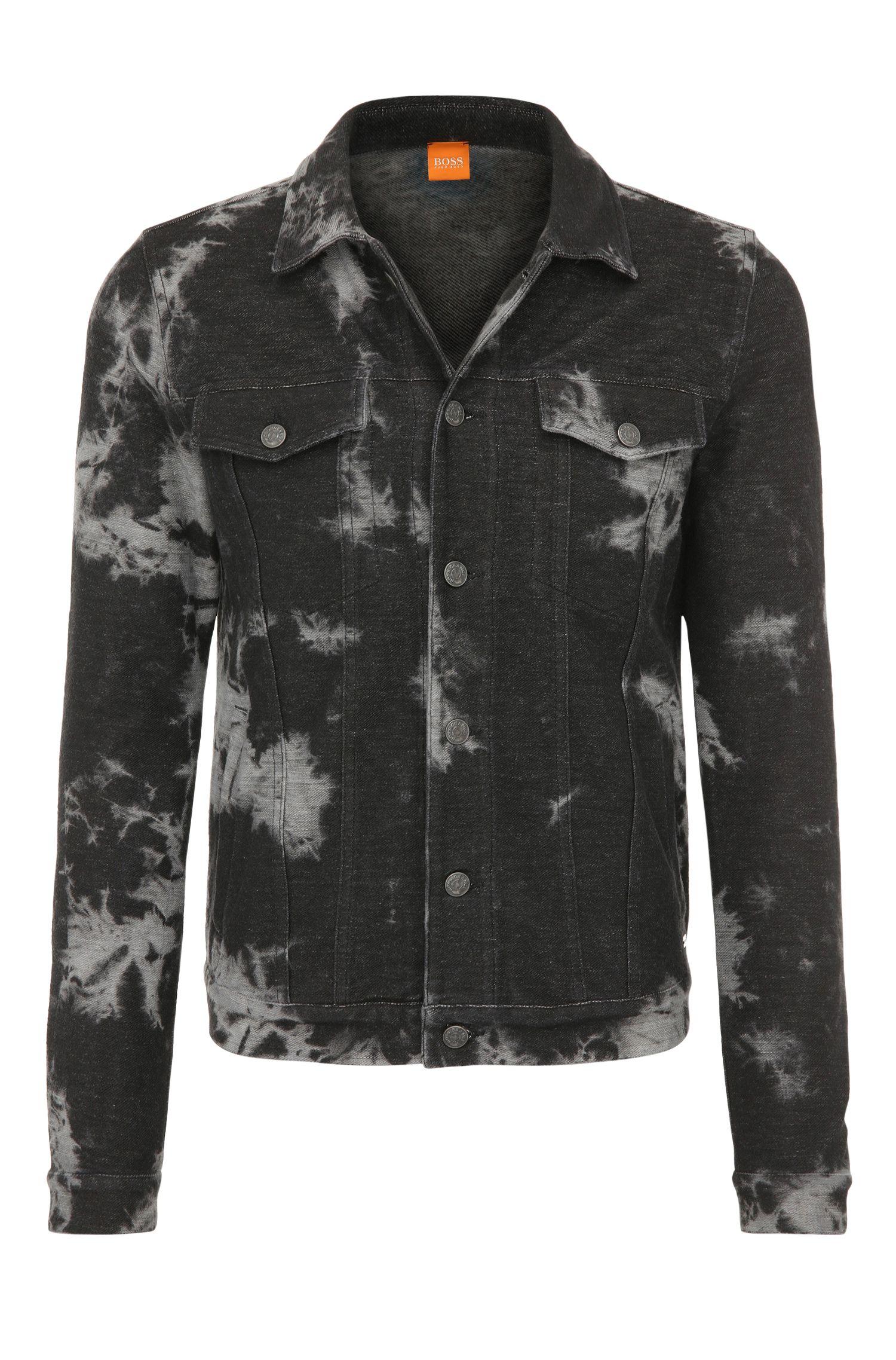 Regular-Fit Trucker-Jacke aus elastischer Baumwolle im Batik-Stil: ´Zabbath`