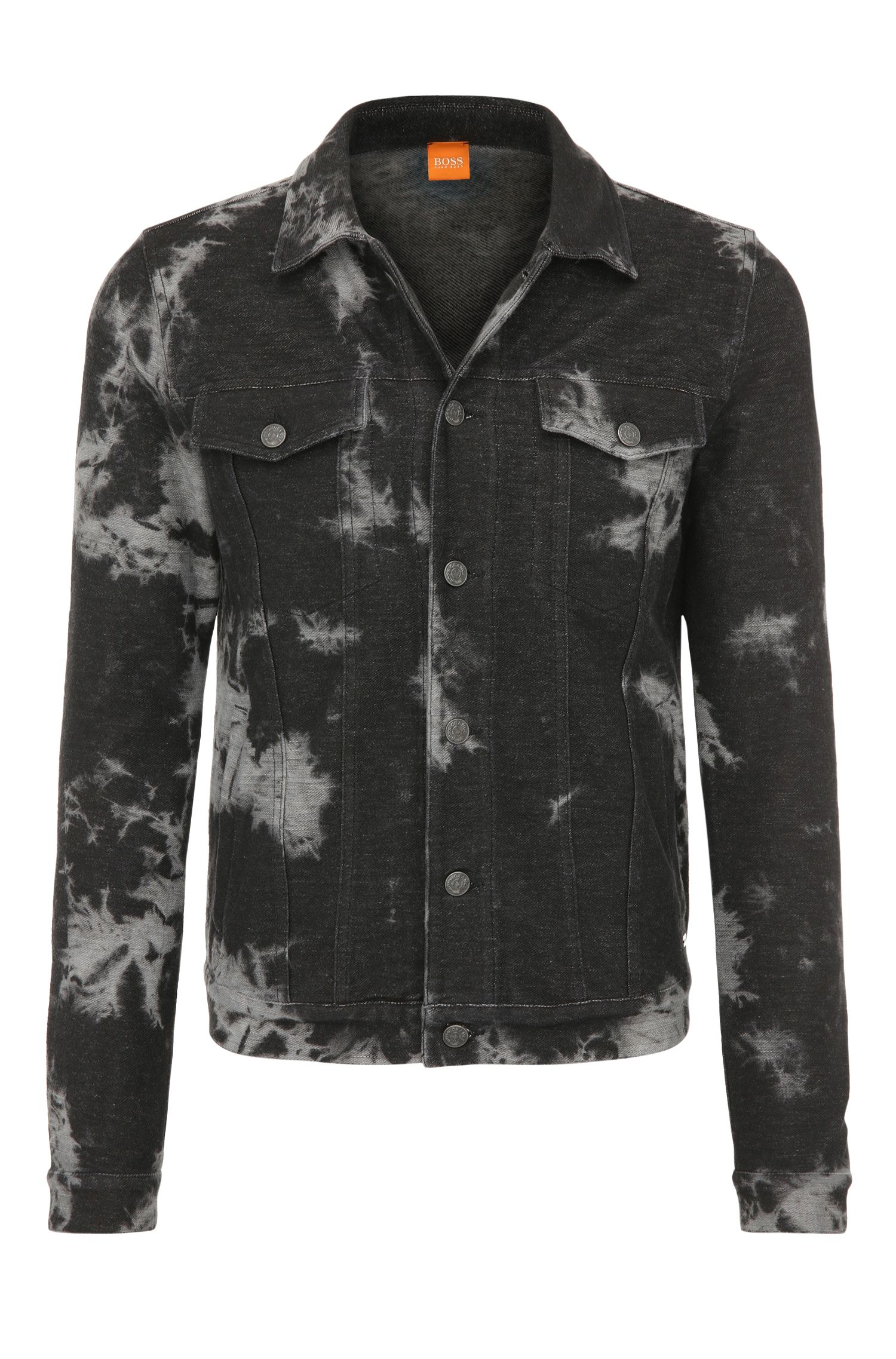 Regular-fit trucker jacket made from stretch cotton in batik style: 'Zabbath'