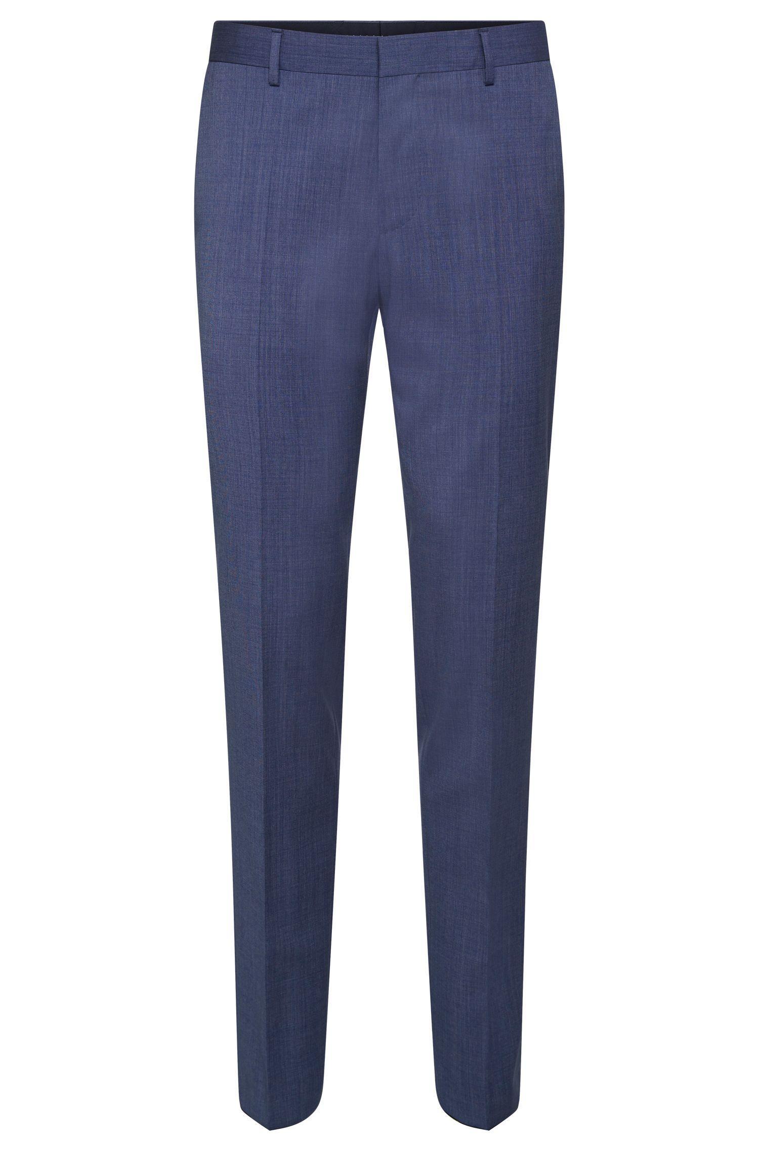 Slim-fit broek van scheerwol met contrastkleurige paspels: 'Bevan'